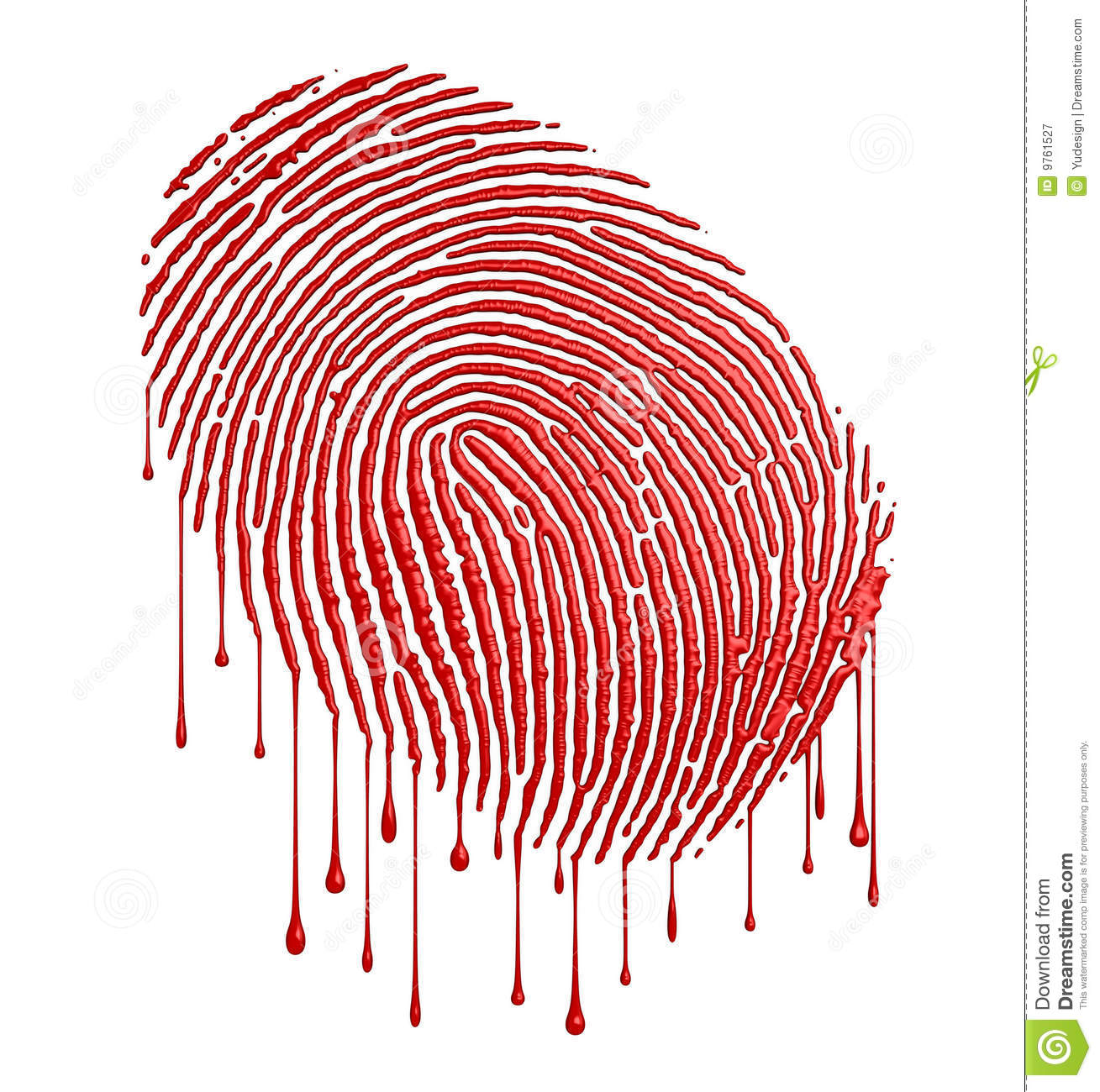 Bloody fingerprint with leaking blood over white background (3D ...