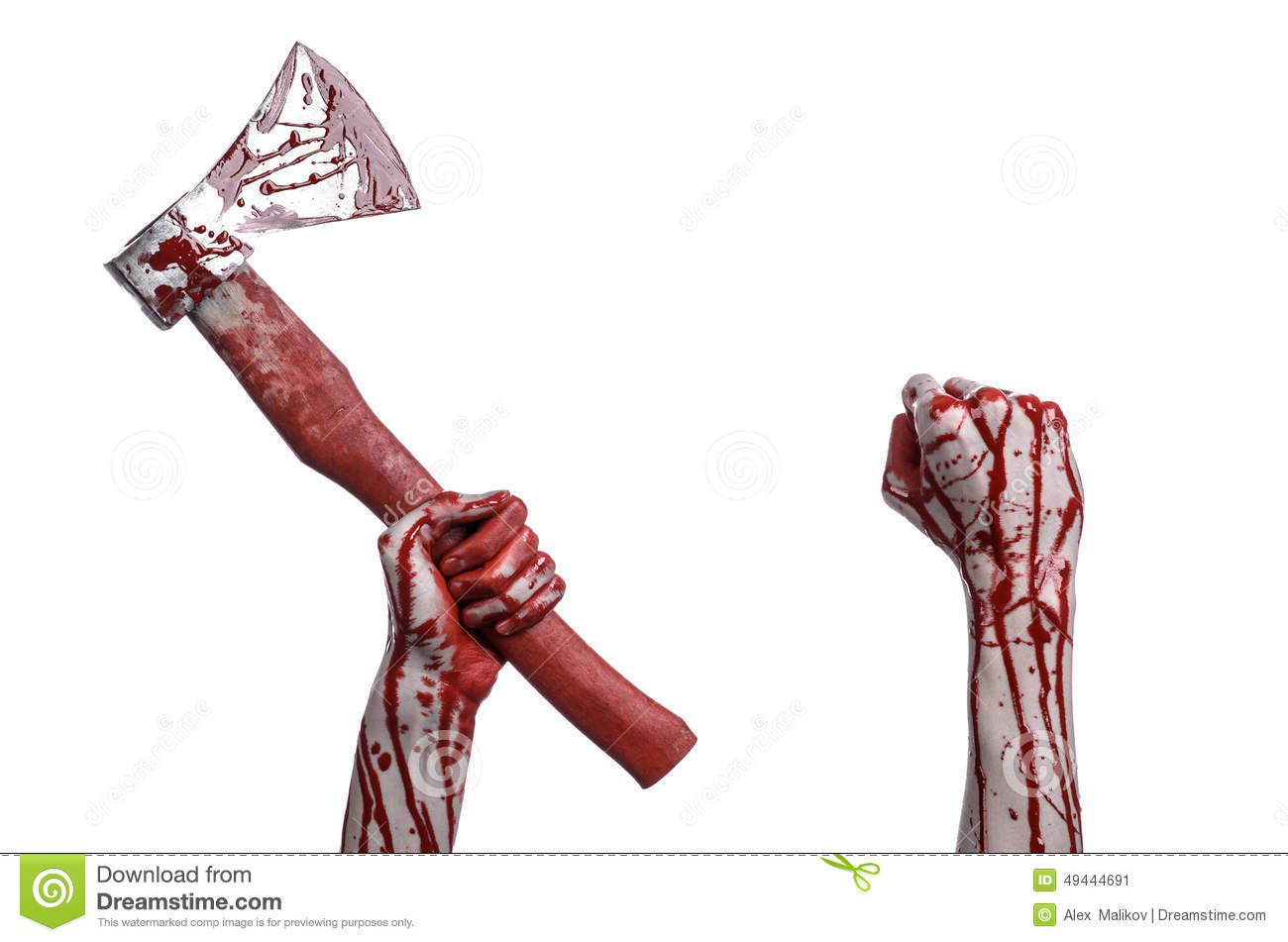 Bloody Halloween theme: bloody hand holding a bloody butcher s ax isolated on white background in studio
