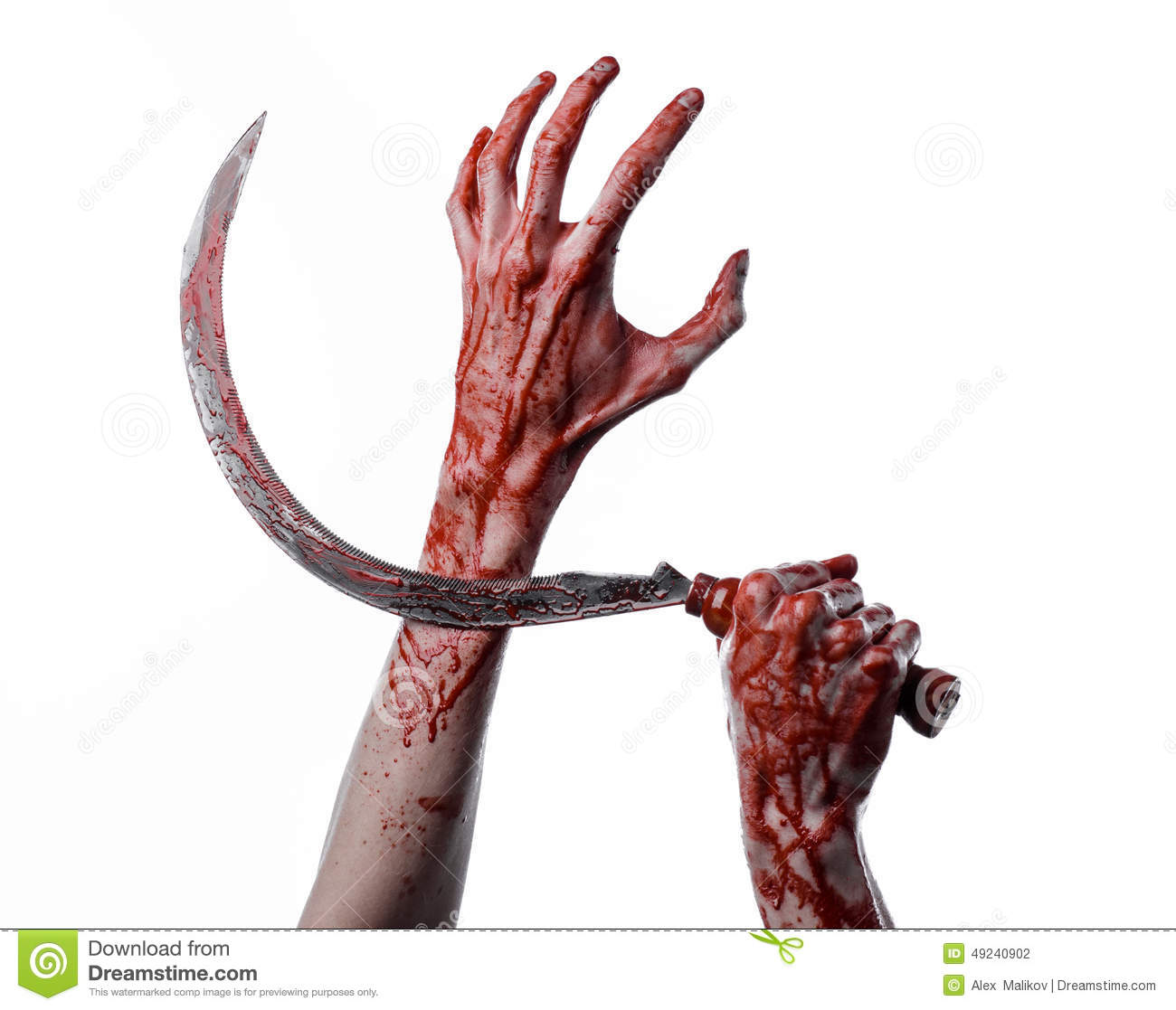 Bloody Hand Holding A Sickle, Sickle Bloody, Bloody Scythe, Bloody