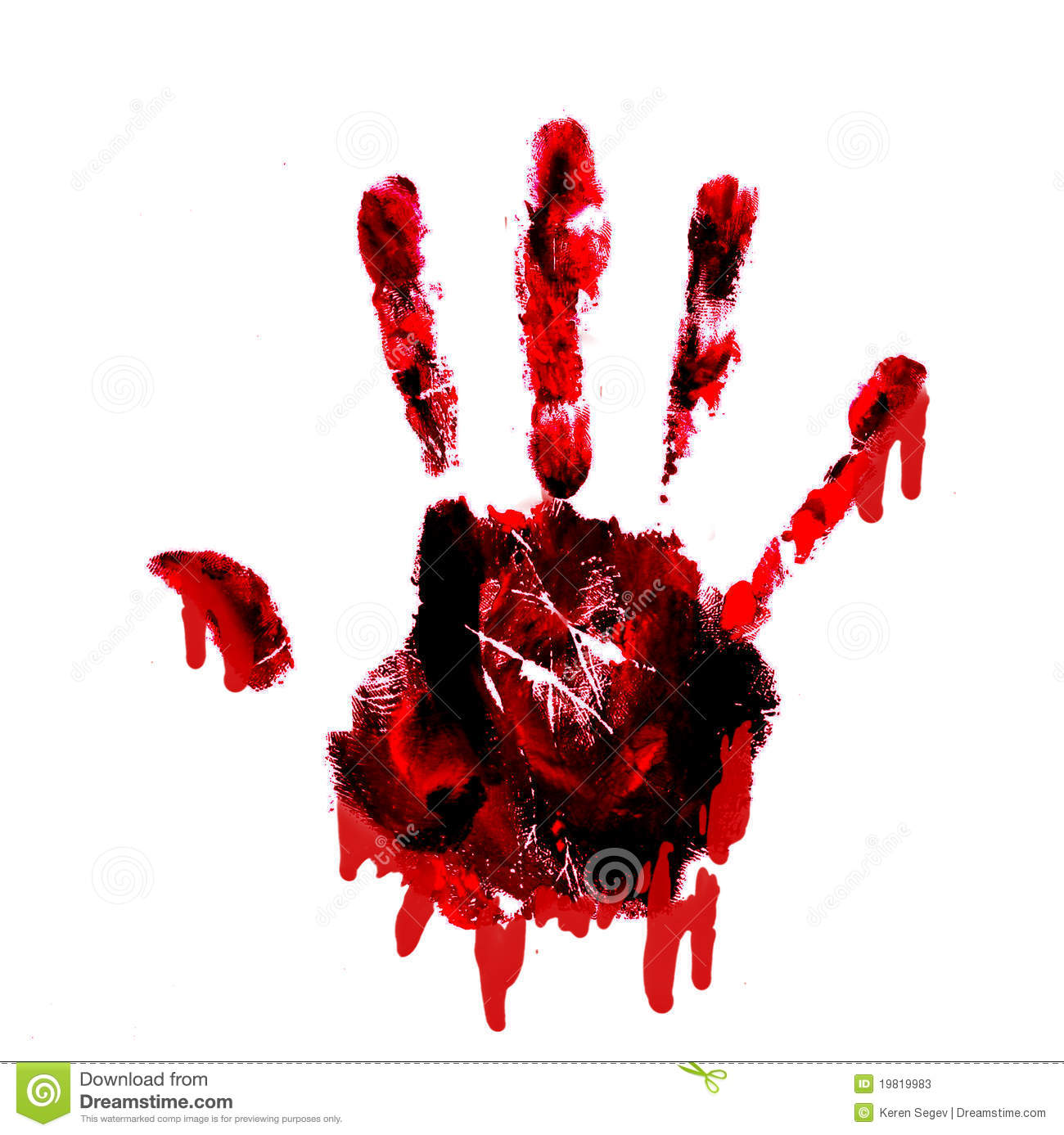 Bloody Handprint With Drips Isolated On White Back Stock