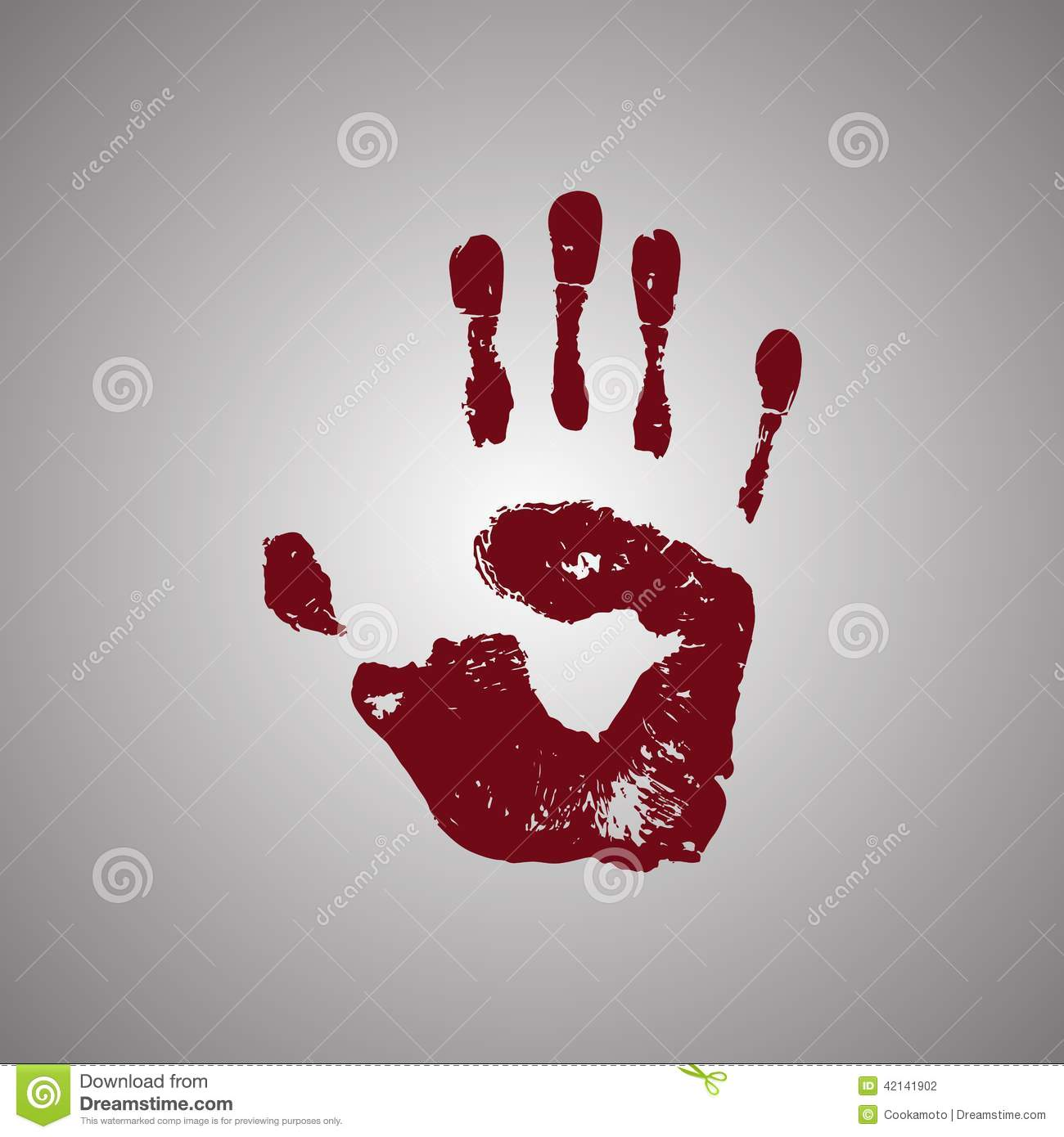 bloody handprint isolated on white background stock vector