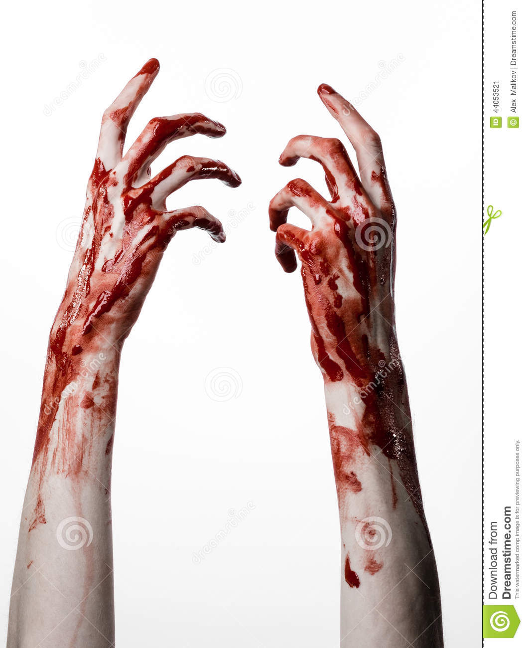 Bloody Hands On A White Background, Zombie, Demon, Maniac, Isolated ...