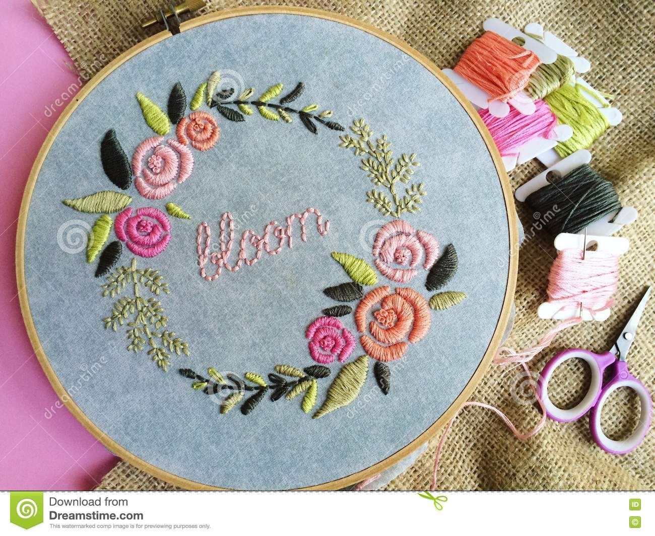 Bloom Stock Photo Image Of Wreath Embroidery Hand 75085708