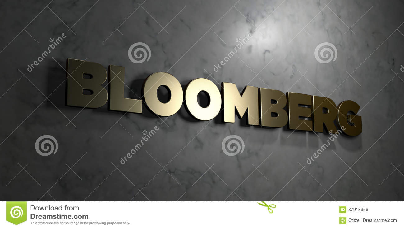 Bloomberg Gold Text On Black Background 3d Rendered Royalty Free