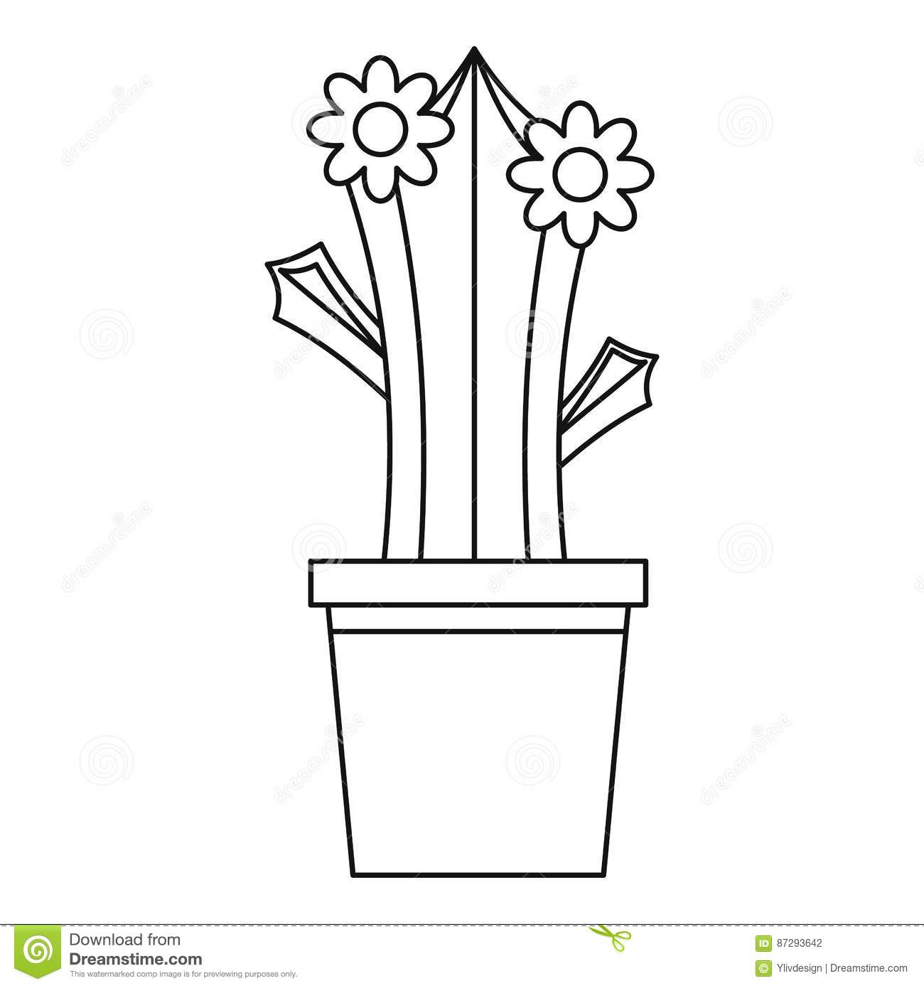 Blooming Cactus In Pot Icon, Outline Style Stock Vector ...  Cactus Flower Outline