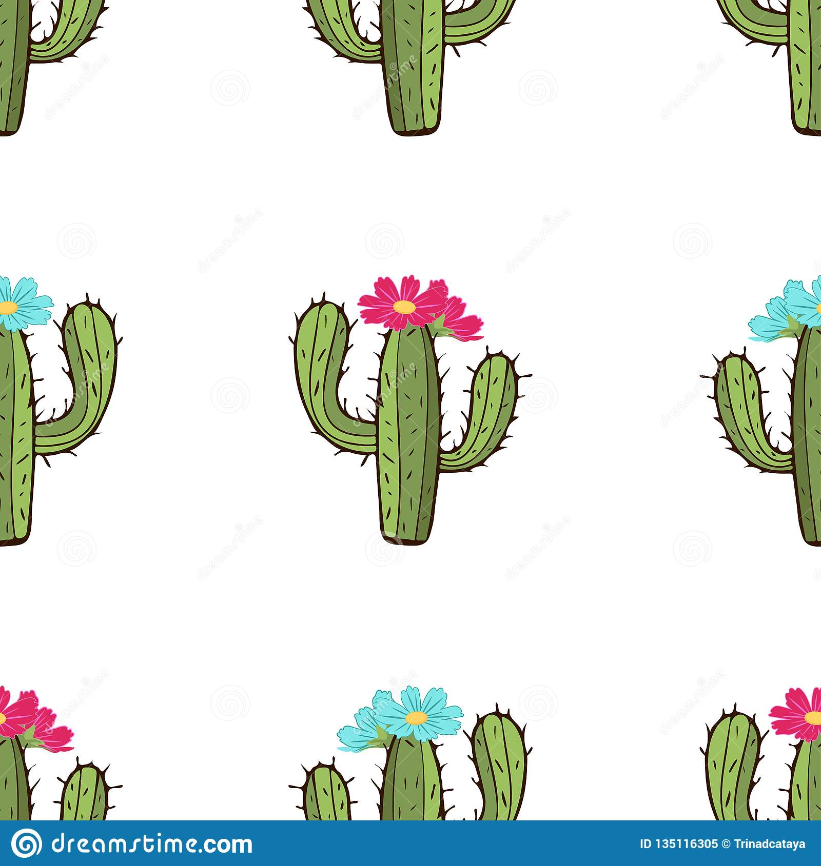 Blooming cactus seamless pattern hand drawing vector illustration