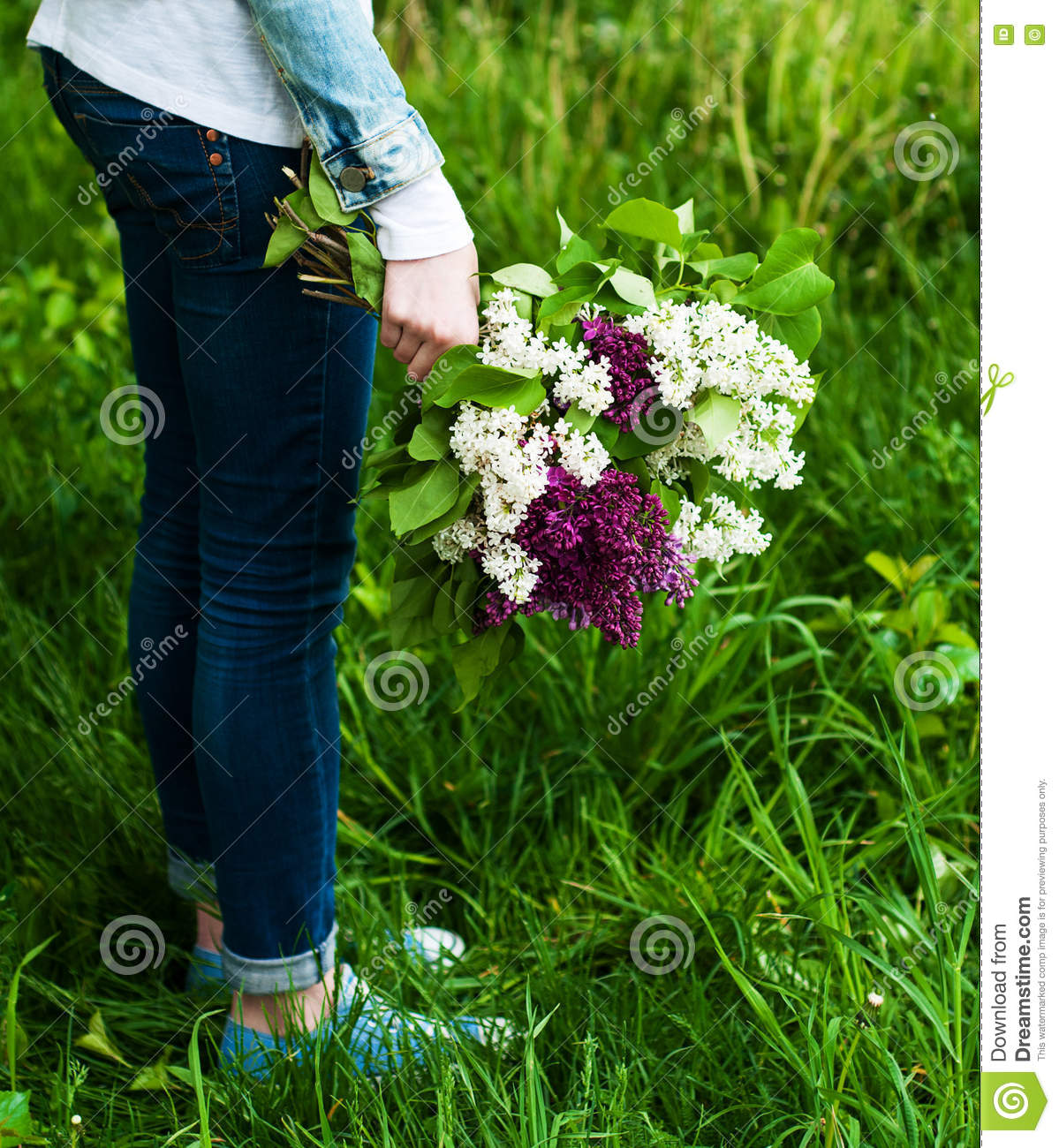Blooming lilac flowers in hand