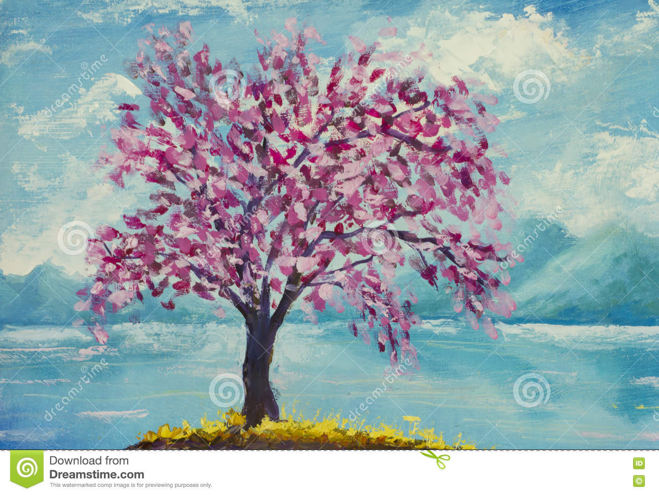 Blooming Sakura On Water Oil Painting. Stock Image - Image ... Easy Acrylic Flower Paintings On Canvas