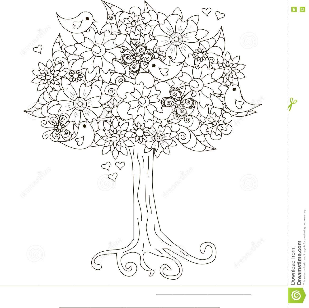 Blooming Tree With Butterfly On Ornamental Hills For Coloring Book