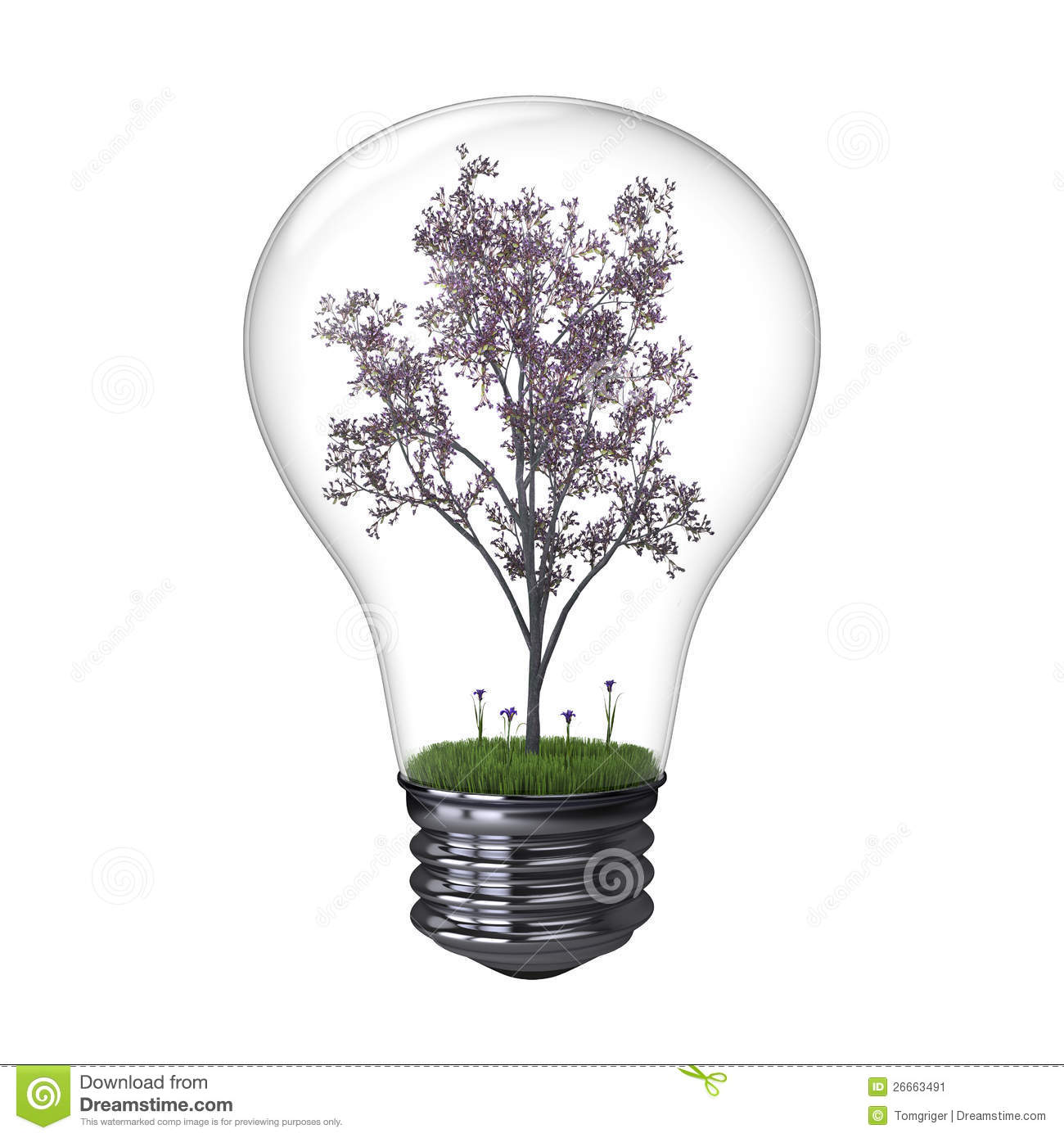 blooming tree inside lightbulb stock illustration