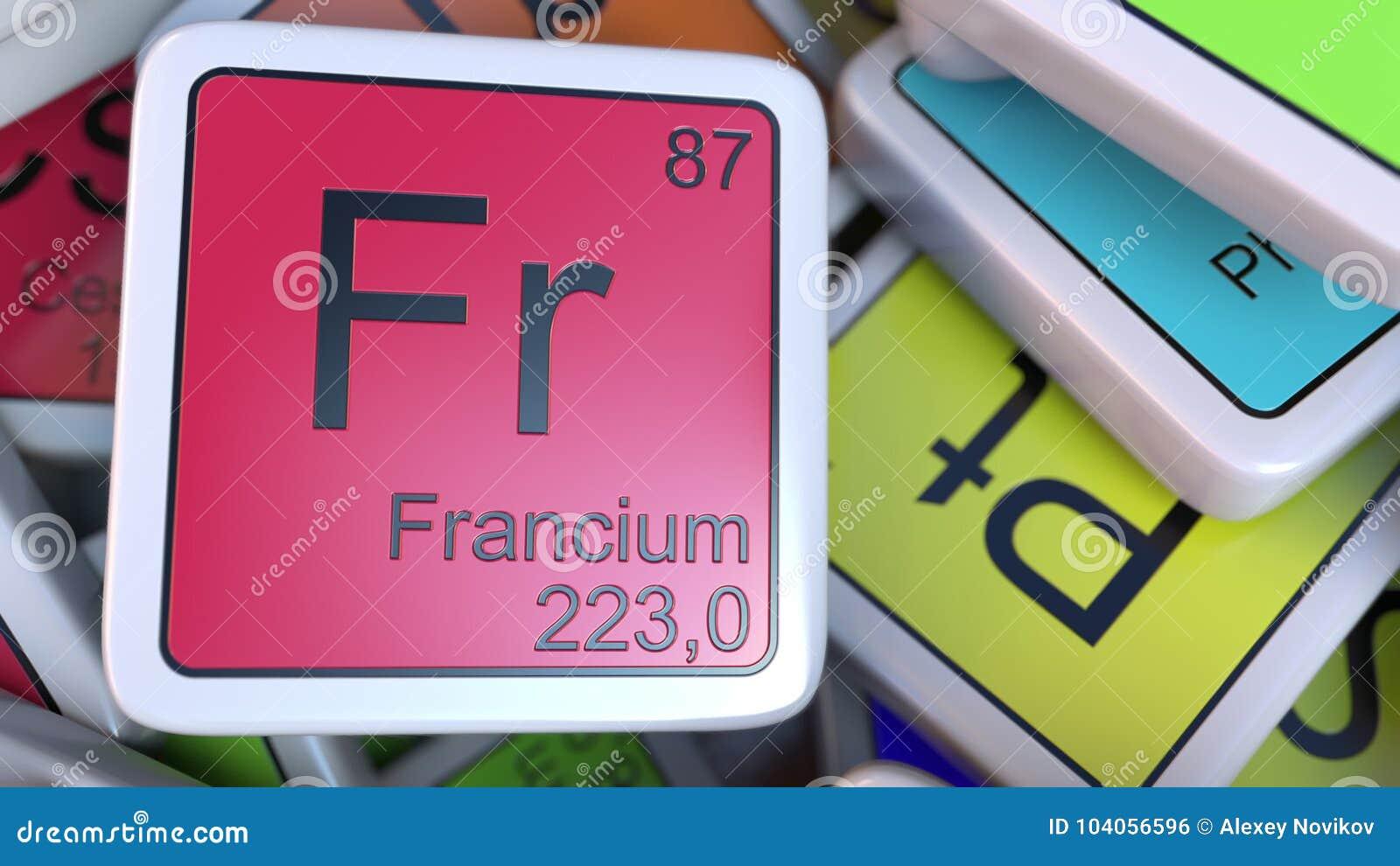 Bloque del franco del francio en la pila de tabla peridica de los la etiqueta del francio en la pila de tabla peridica de los elementos qumicos marca con etiqueta urtaz Image collections