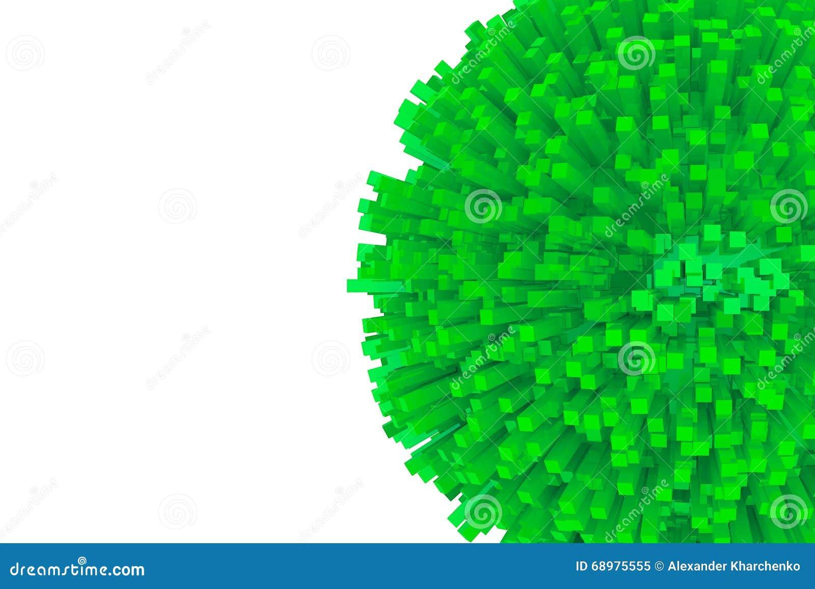 Bloques 3d como esfera verde abstracta