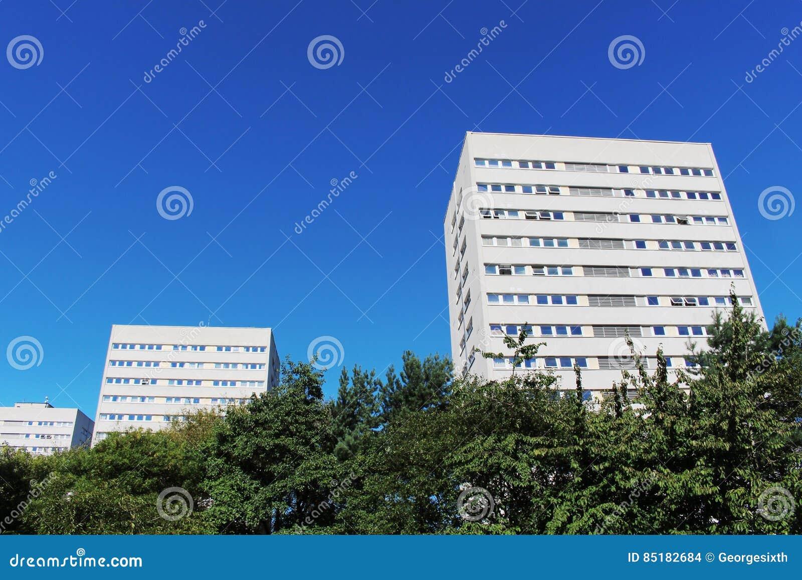 Bloques de apartamentos blancos modernos contra SK azul