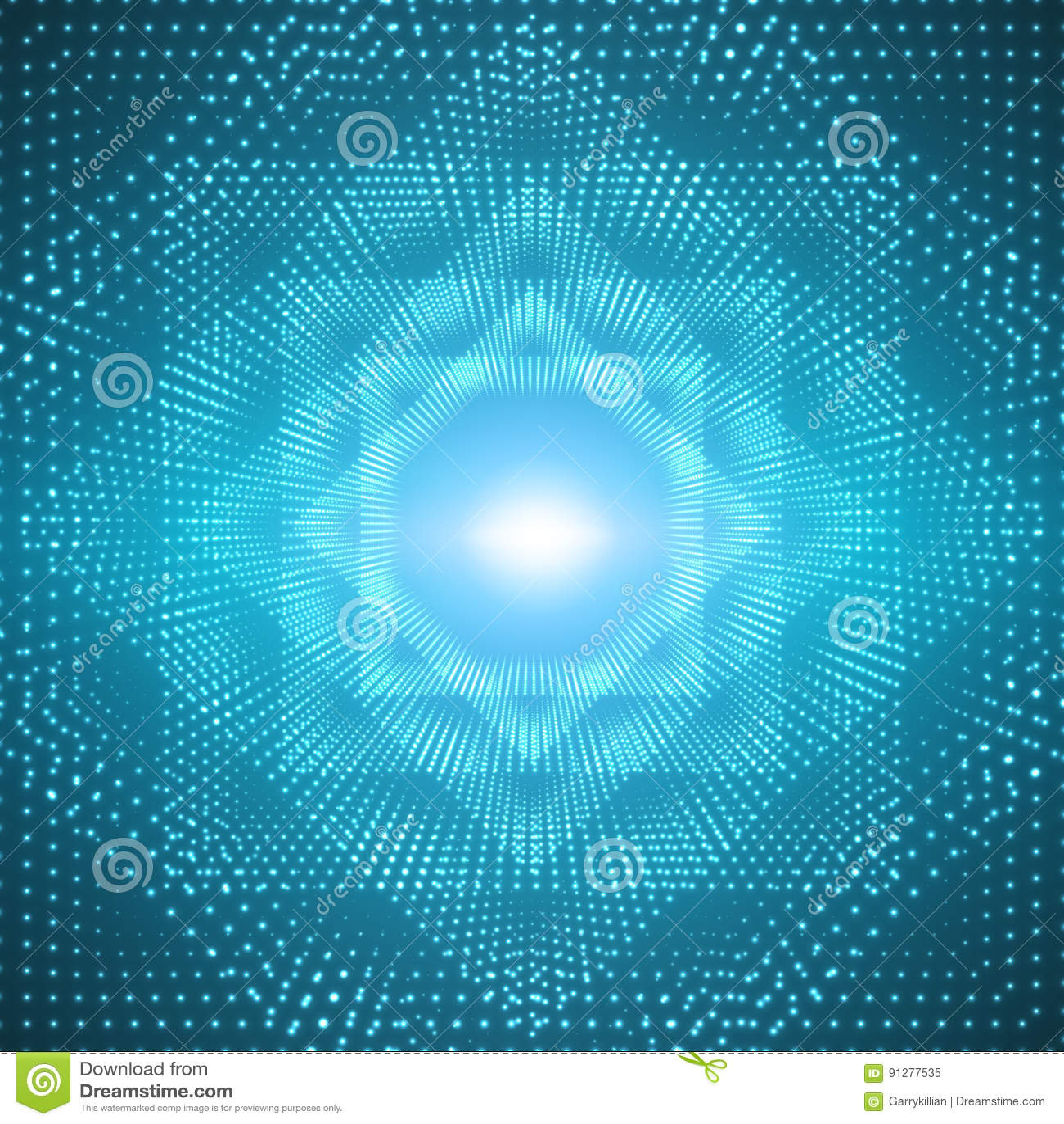 Blossar den oändliga polygonal tunnelen för vektorn av att skina på blå bakgrund Glödande sektorer för punktformtunnel