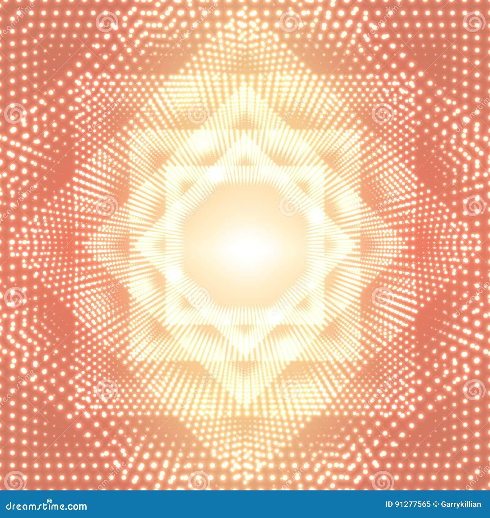 Blossar den oändliga polygonal tunnelen för vektorn av att skina på orange bakgrund Glödande sektorer för punktformtunnel