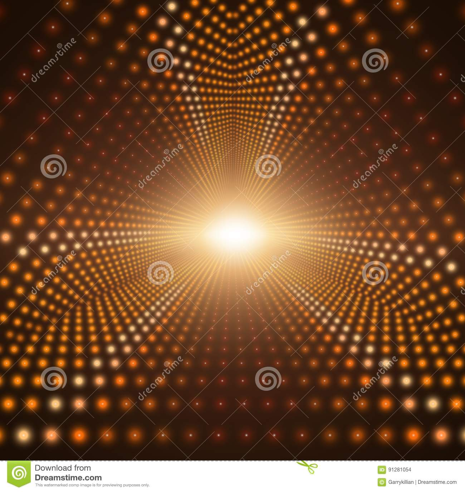Blossar den oändliga triangulära tunnelen för vektorn av att skina på brun bakgrund Glödande sektorer för punktformtunnel