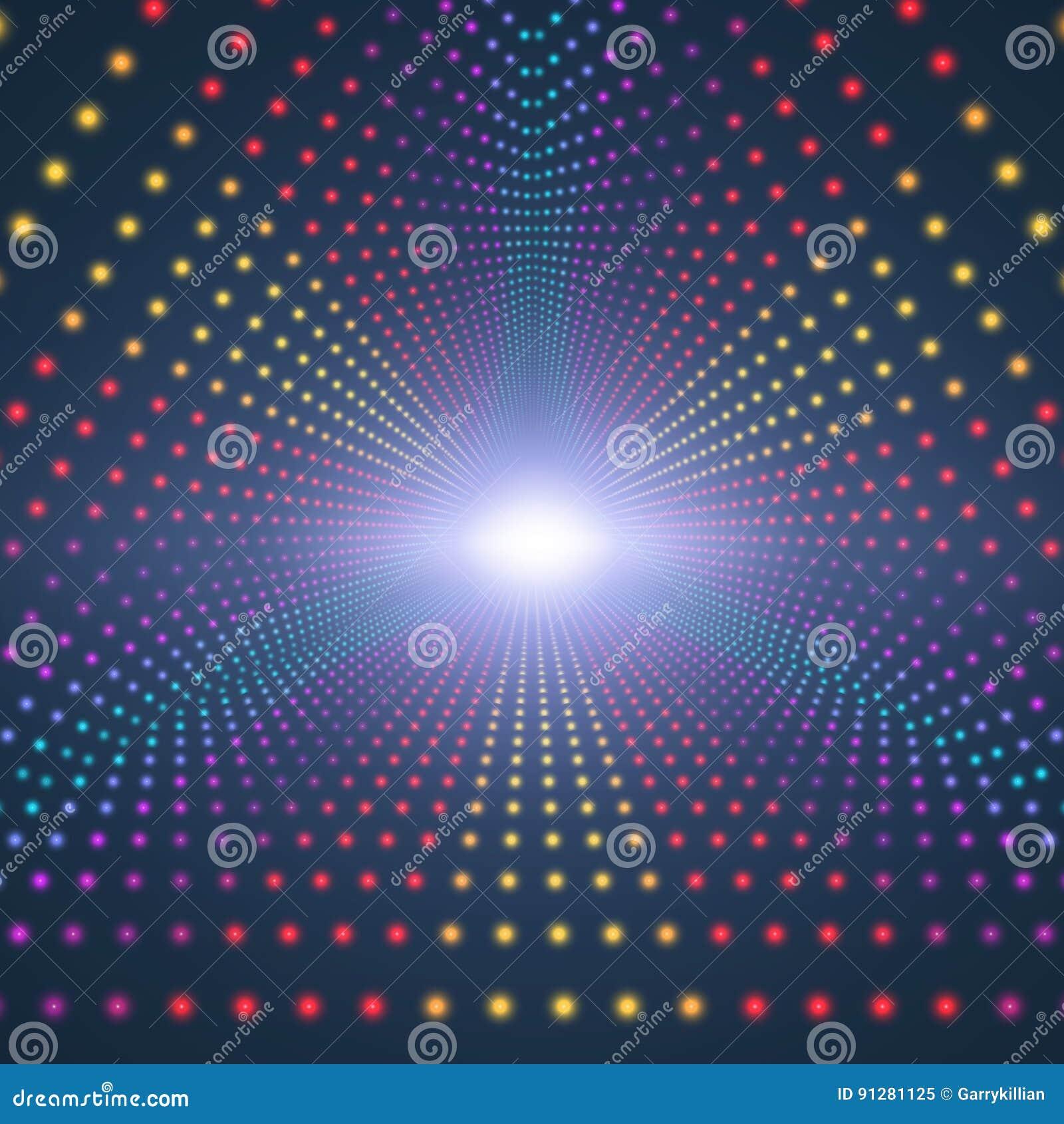 Blossar den oändliga triangulära tunnelen för vektorn av att skina på mörk bakgrund Glödande sektorer för punktformtunnel