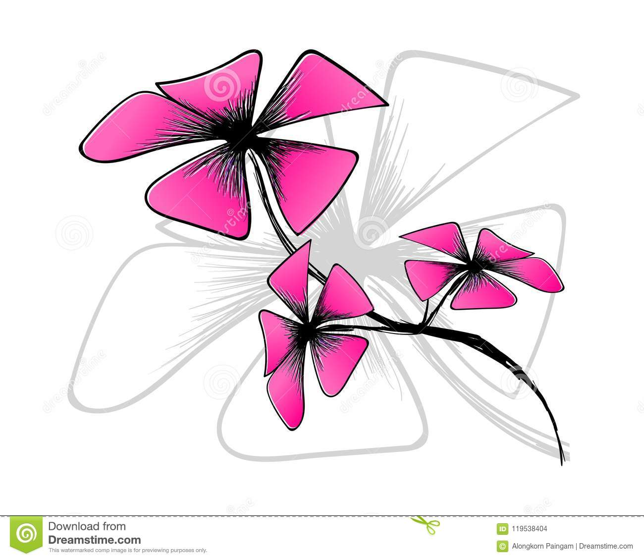 Blossom Bloom On White Backgroundpink Flower Draw With Art Line