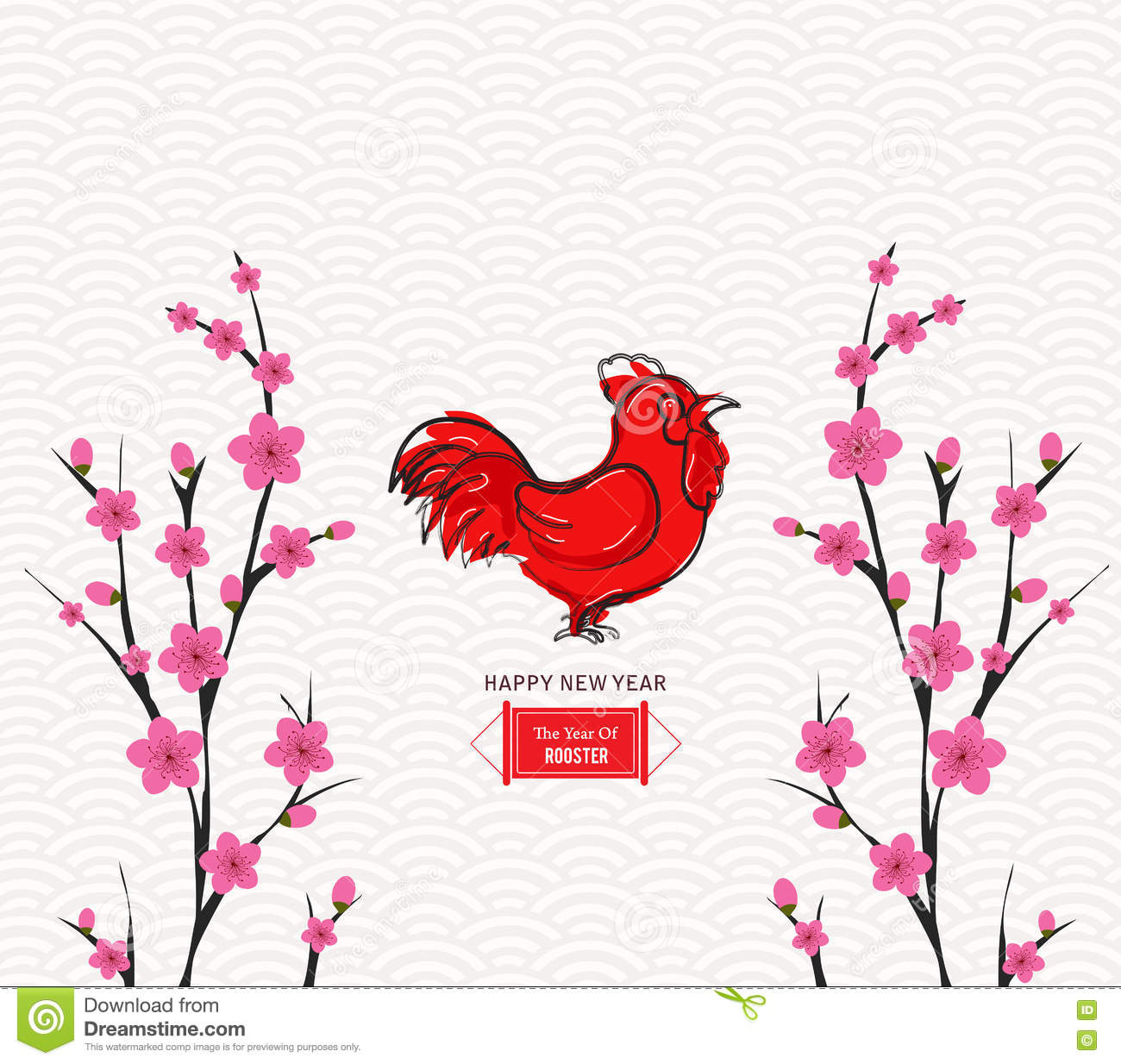 Blossom Chinese New Year Rooster And Background Illustration Asian