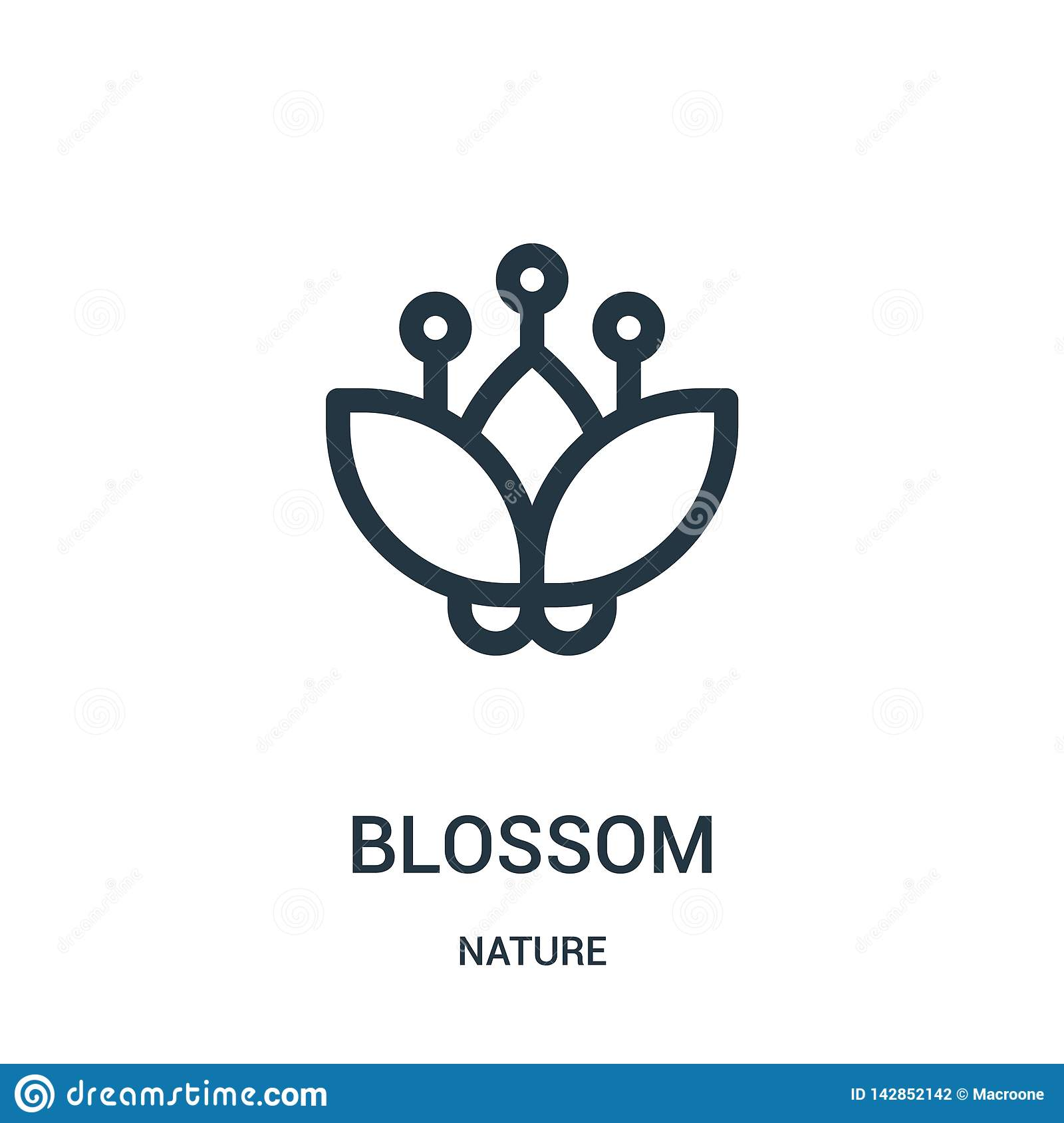 blossom icon vector from nature collection. Thin line blossom outline icon vector illustration. Linear symbol for use on web and