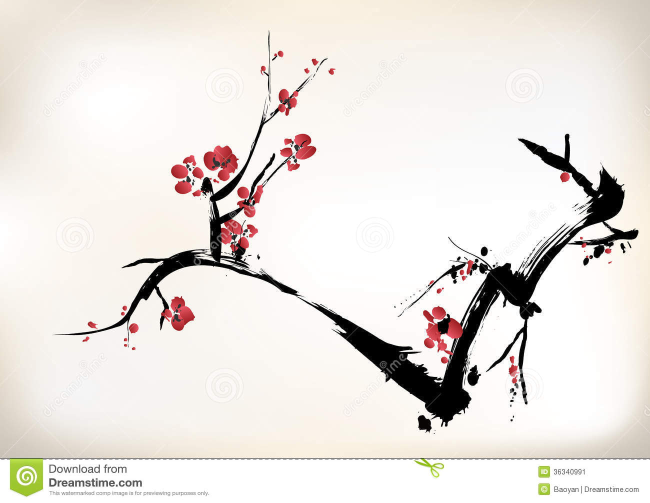 Traditional Chinese Designs Blossom Painting Stock Vector Illustration Of Floral