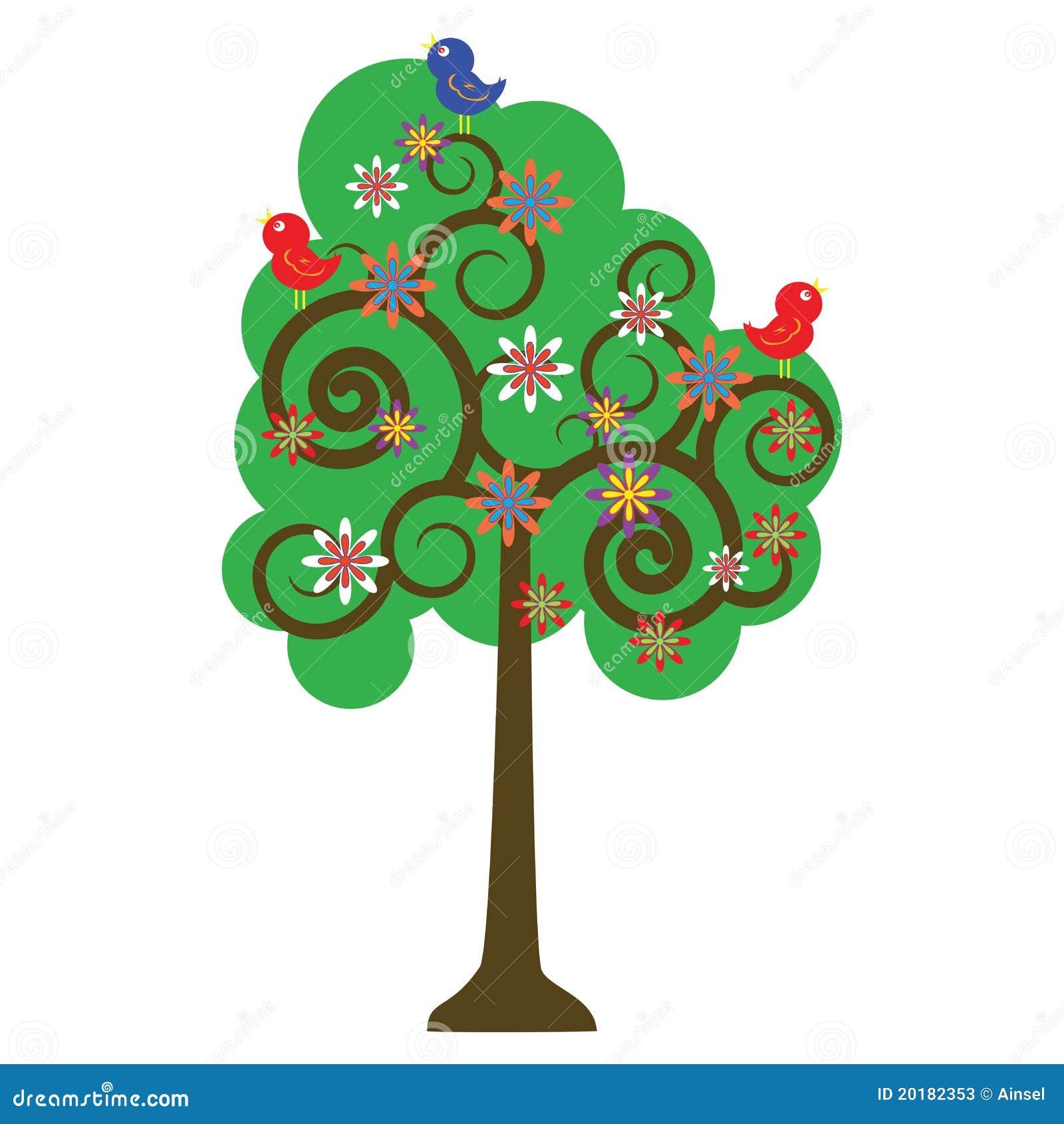 Vector Illustration Of Love Bird On Top Of Swirly Tree Stock Vector ...