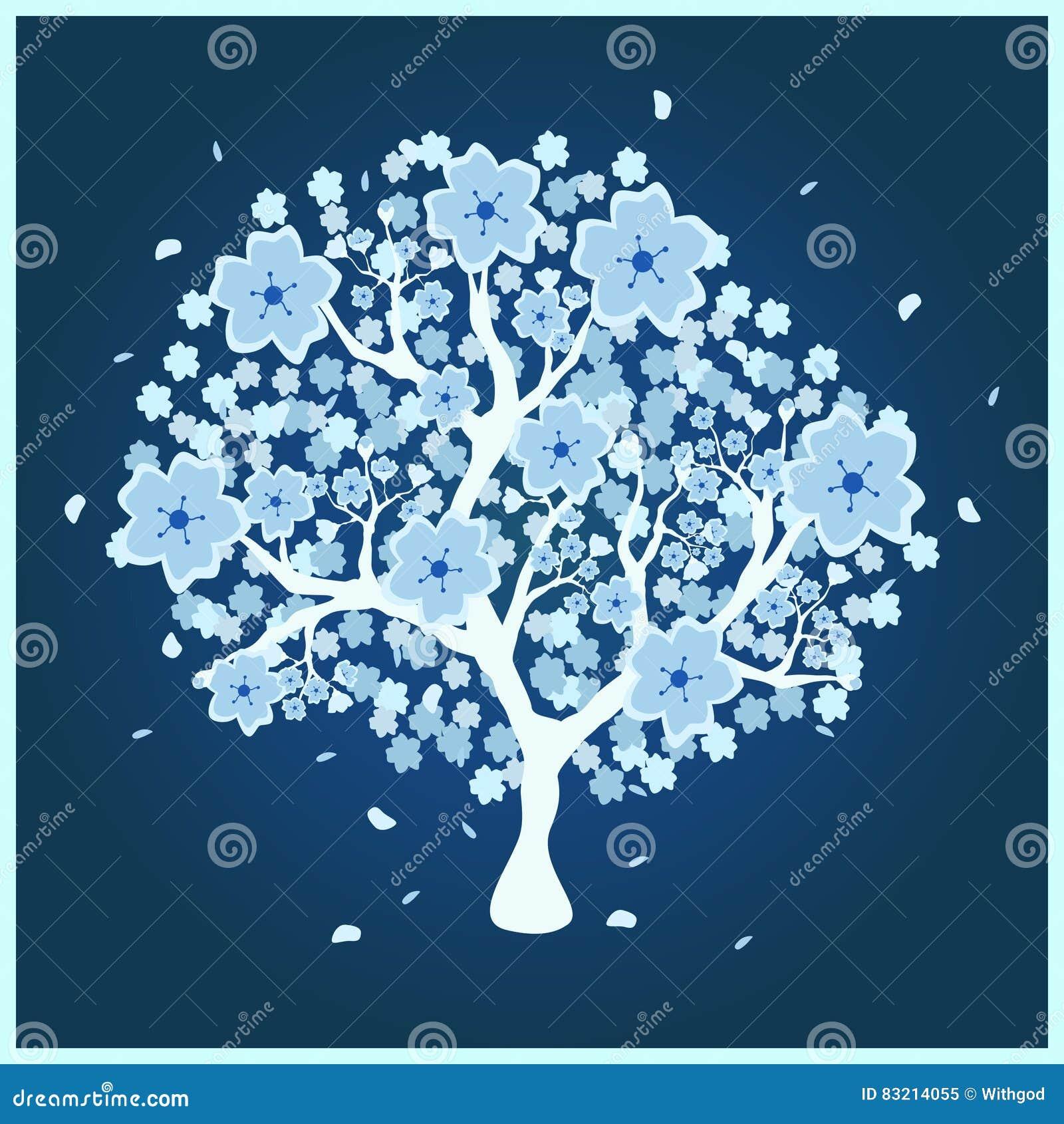 Blossom tree with blue flowers stock illustration illustration of download blossom tree with blue flowers stock illustration illustration of flower leaf 83214055 izmirmasajfo