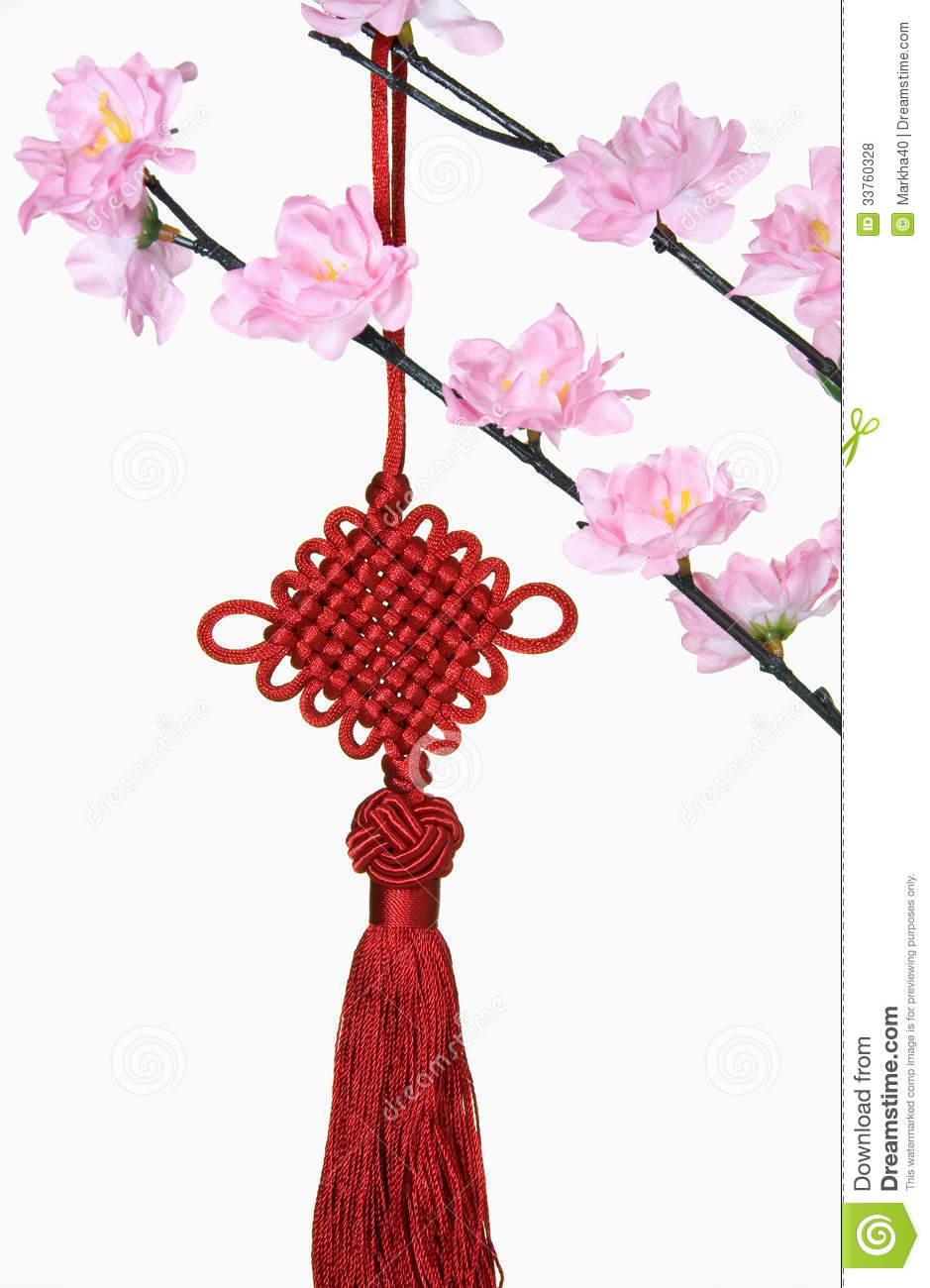 Blossom Tree And Chinese New Year Hanging Decoration ...