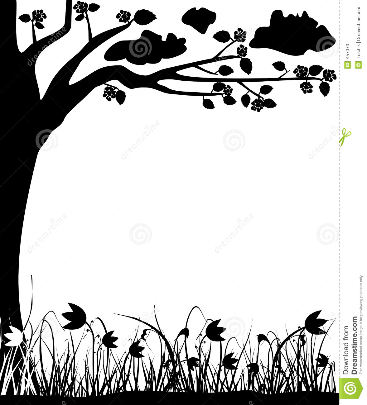 Download Blossoming Tree And Tulips, Spring, Frame, Vector Stock Vector - Illustration of abstract, filigree: 457073