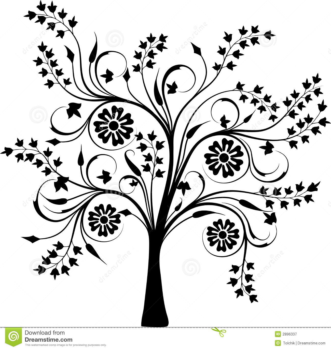 Blossoming Tree, Vector Stock Vector. Illustration Of