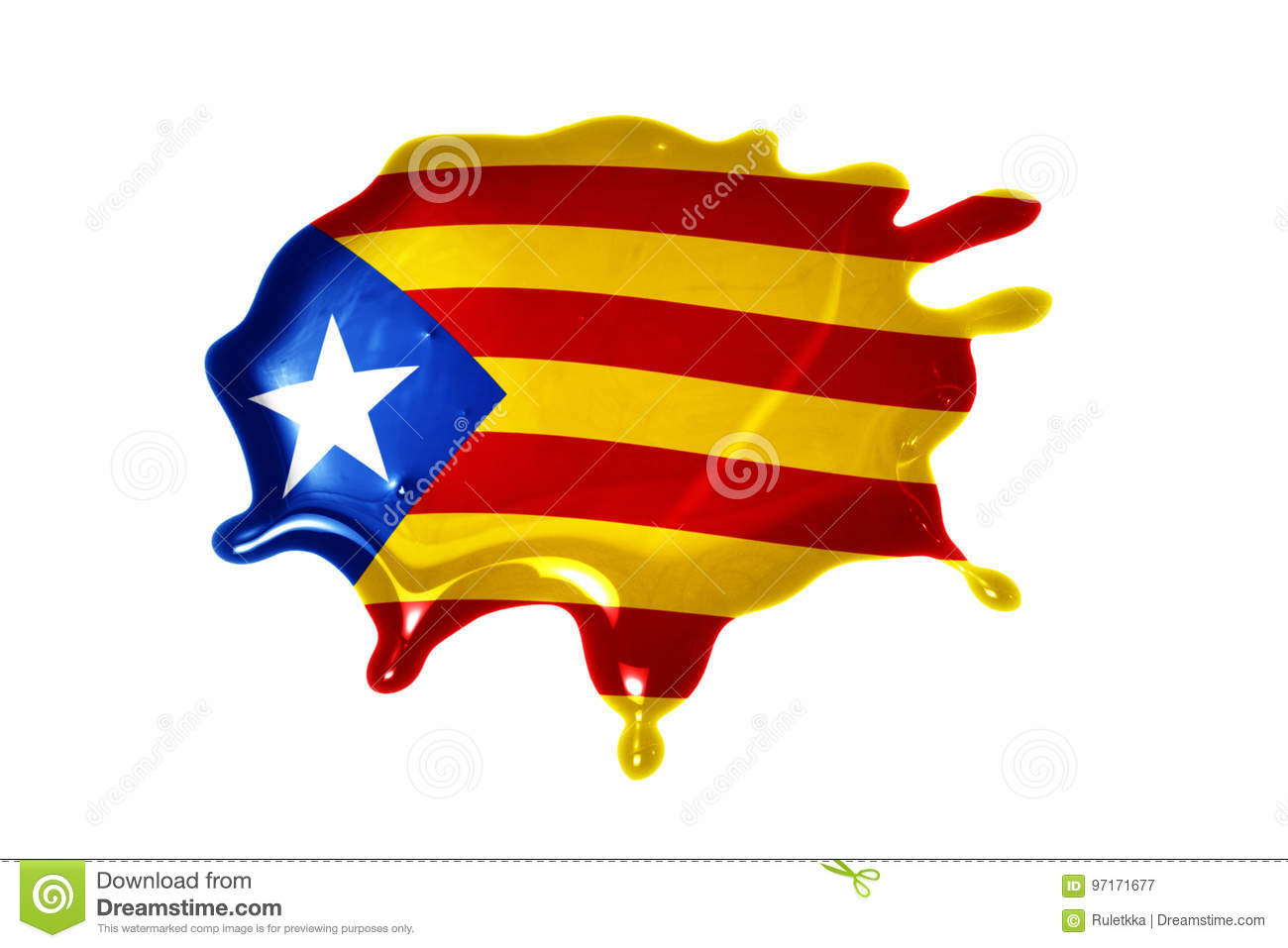 Blot with national flag of catalonia