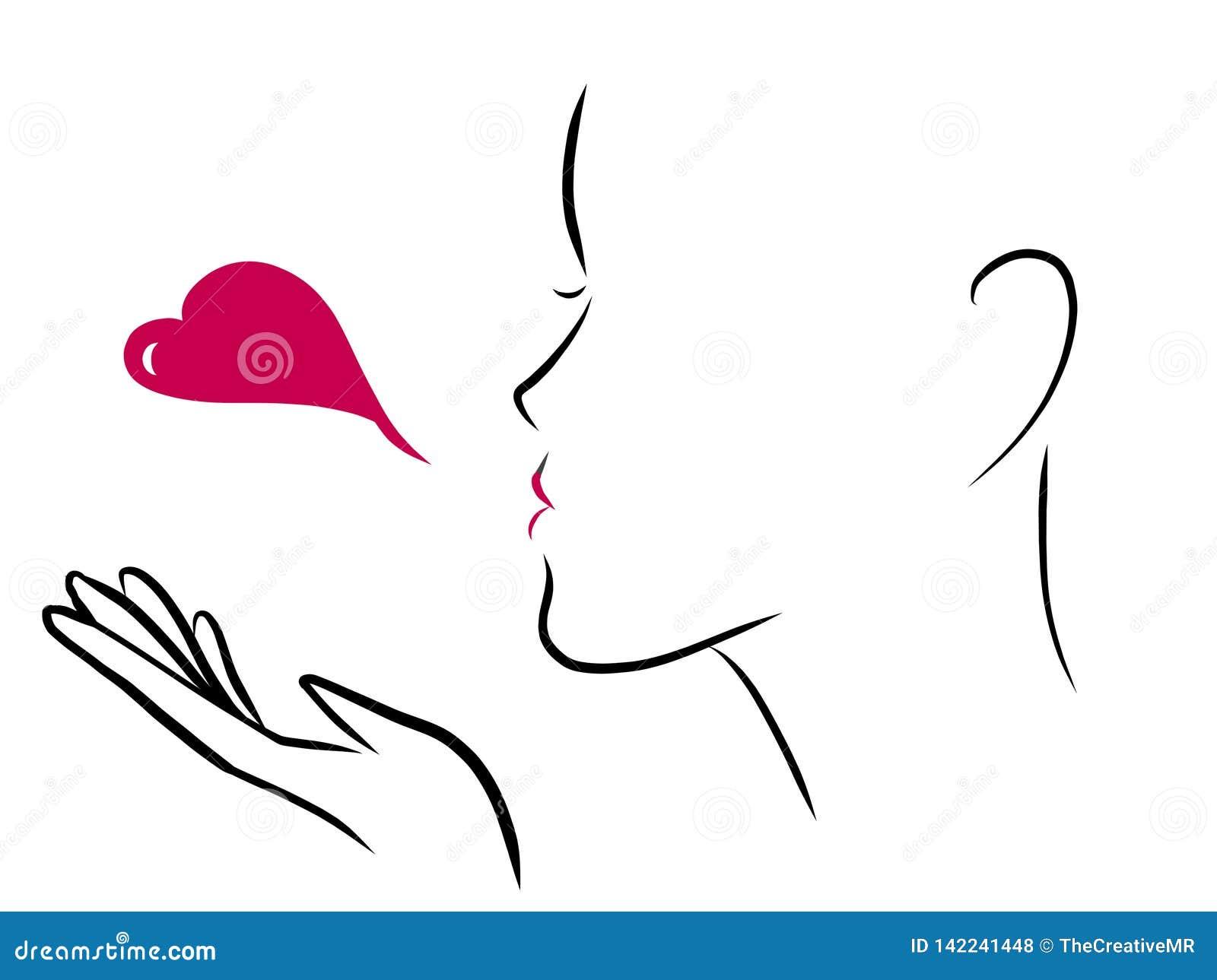 Blow a Heart Kiss stock illustration  Illustration of