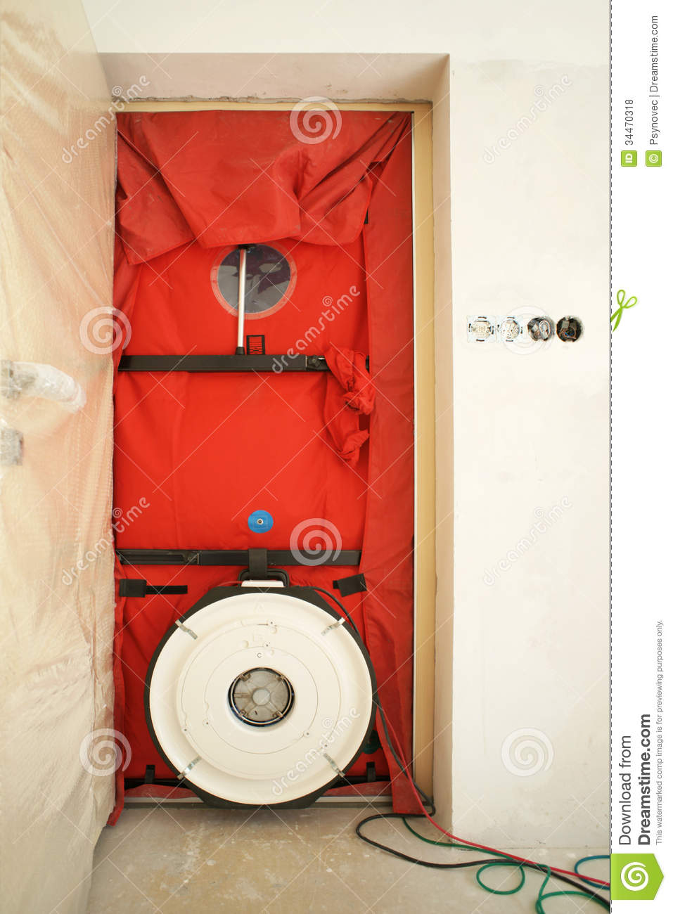 blower door testing royalty free stock photos image 34470318. Black Bedroom Furniture Sets. Home Design Ideas