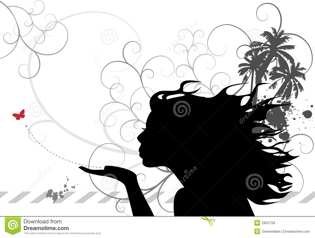 Silhouette woman blowing heart   Hugs and kisses quotes