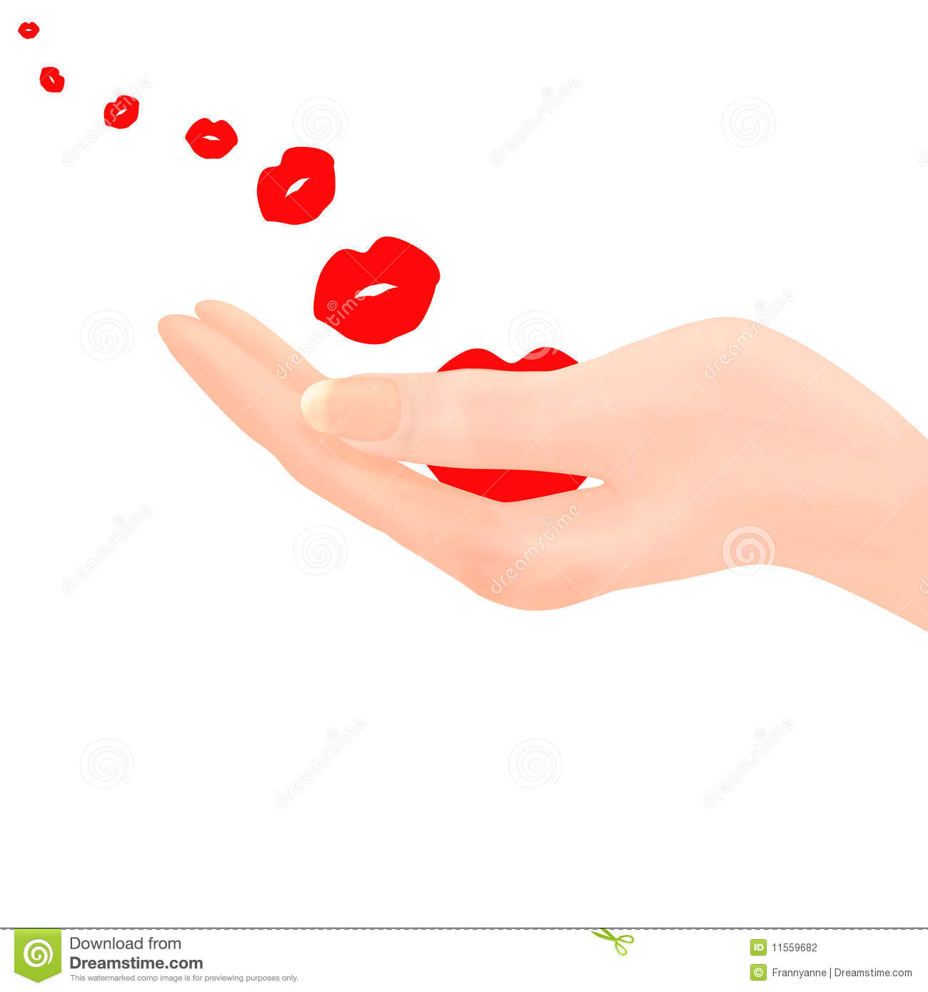 Short Sweet I Love You Quotes: Blowing Kisses From Hand Stock Illustration. Illustration