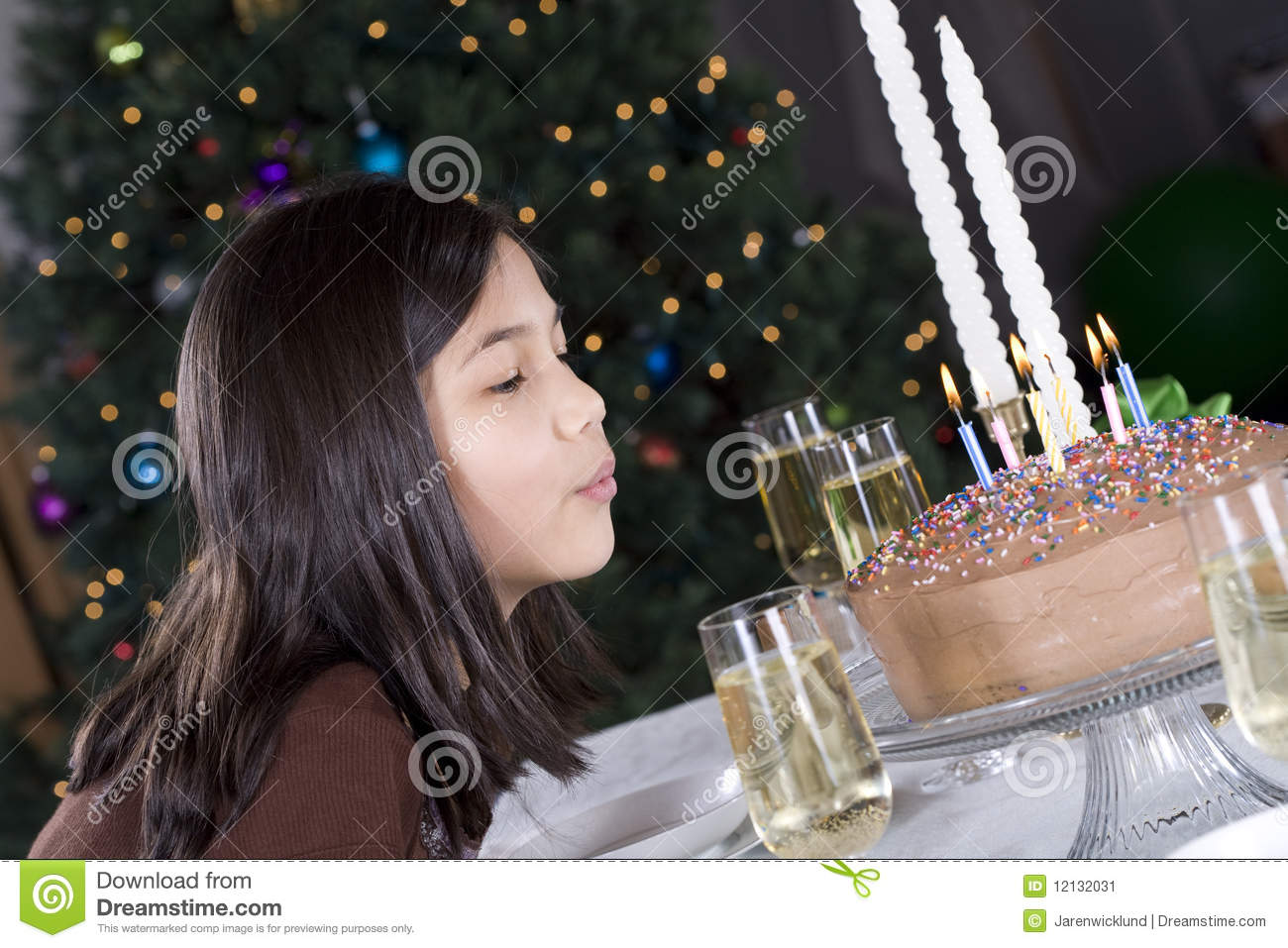 Blowing Out Birthday Cake Candles Stock Image Image