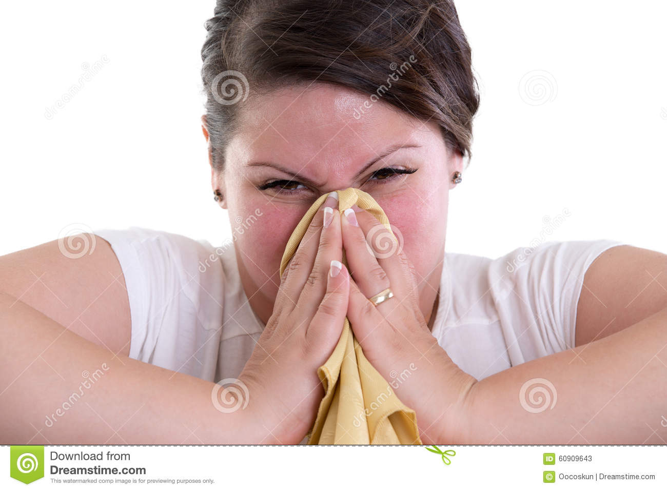 blowing your nose too hard and bleeding stock photo 60909643 megapixl
