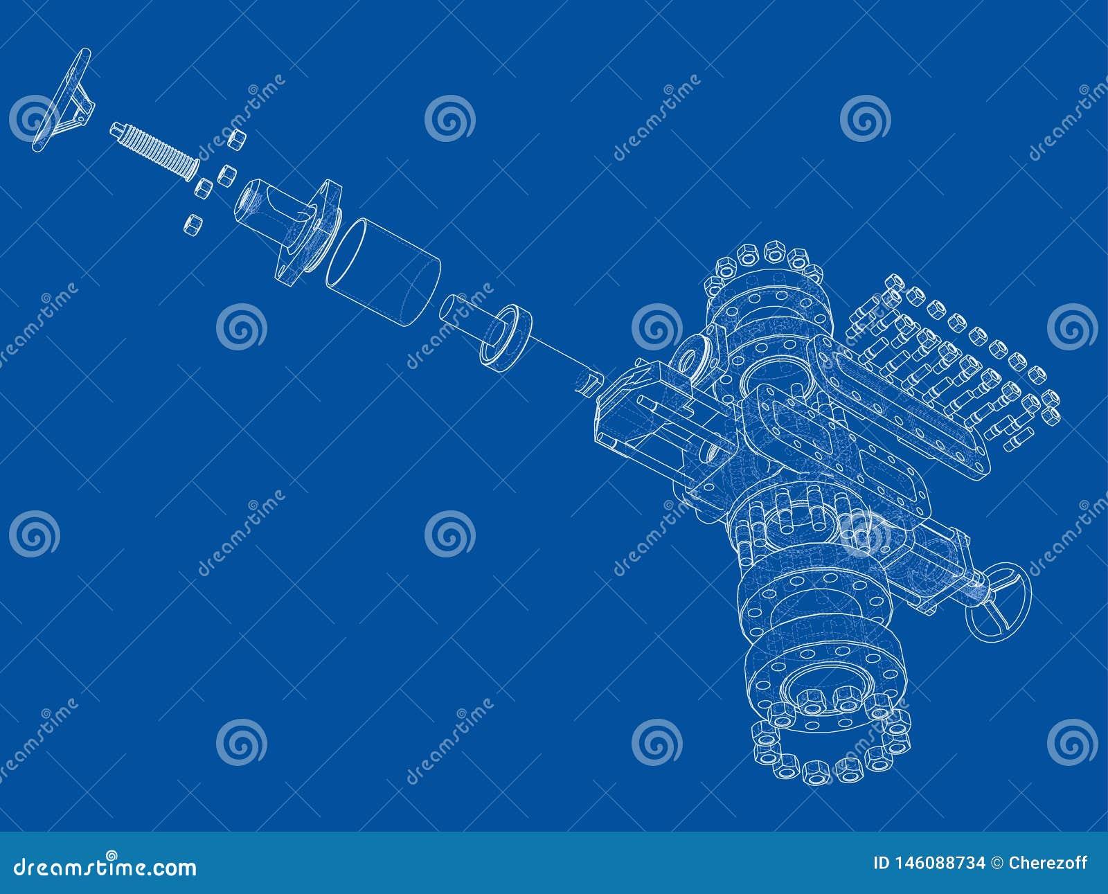Blowout preventer. Vector rendering of 3d