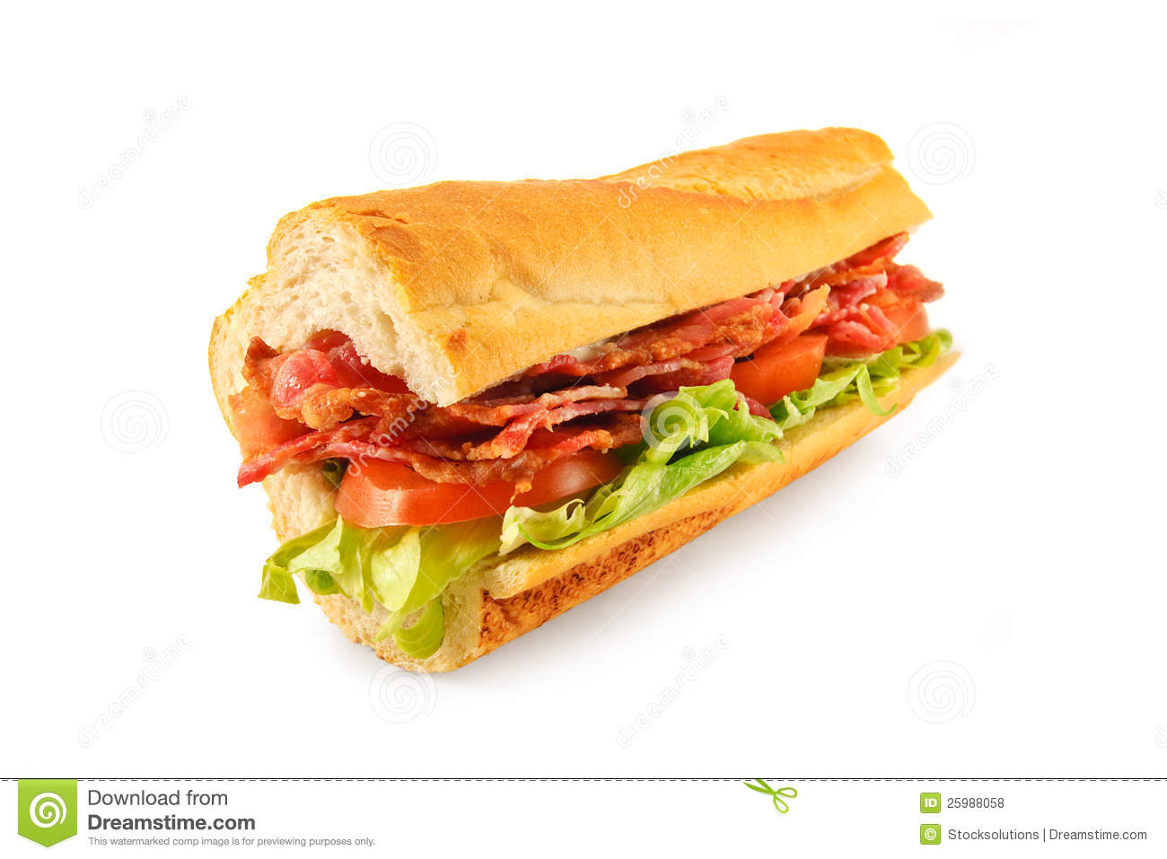 BLT Sub roll made with Bacon, lettuce, tomato and mayo in a french ...