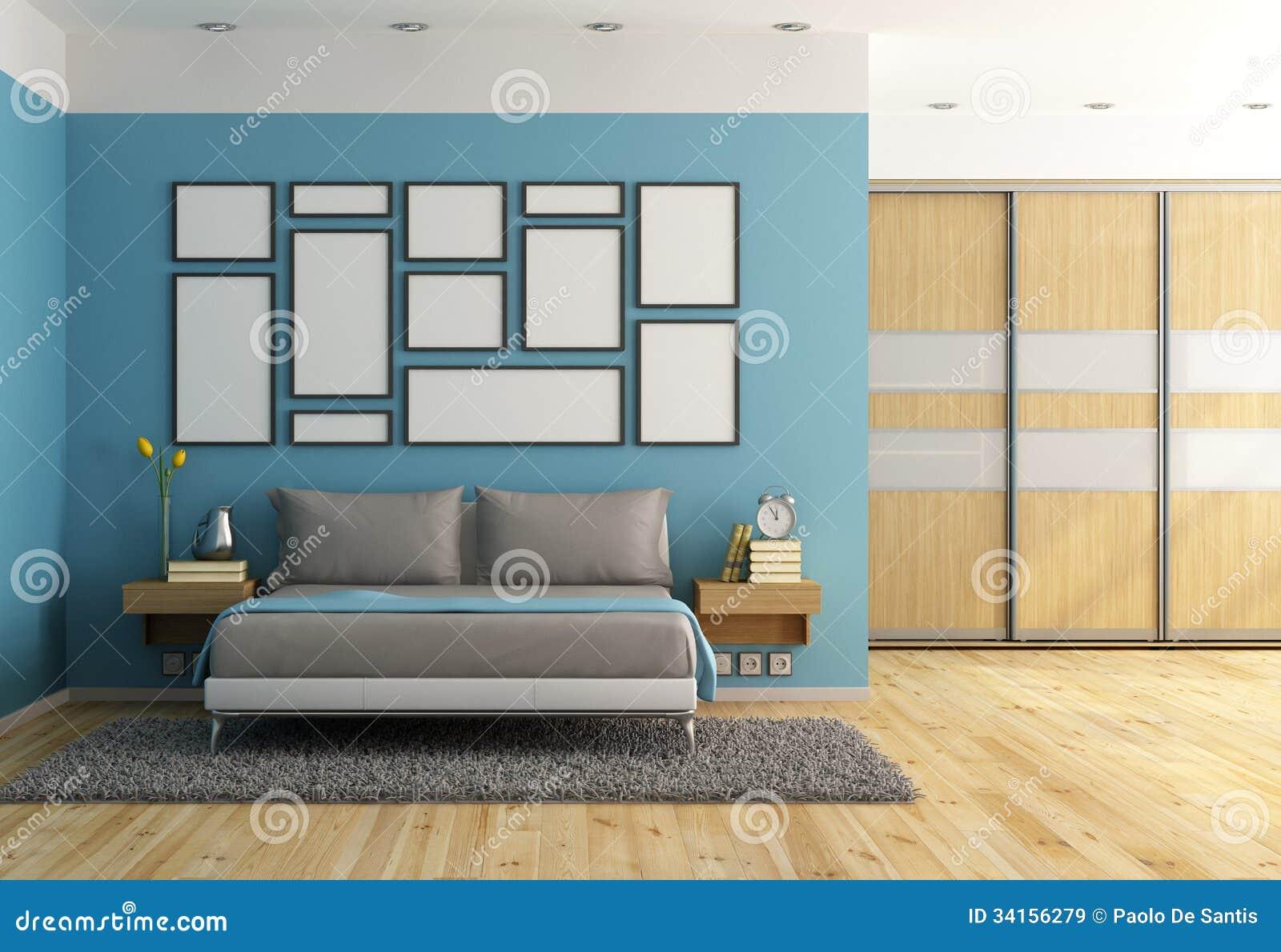 Blått modernt sovrum royaltyfria bilder   bild: 34156279