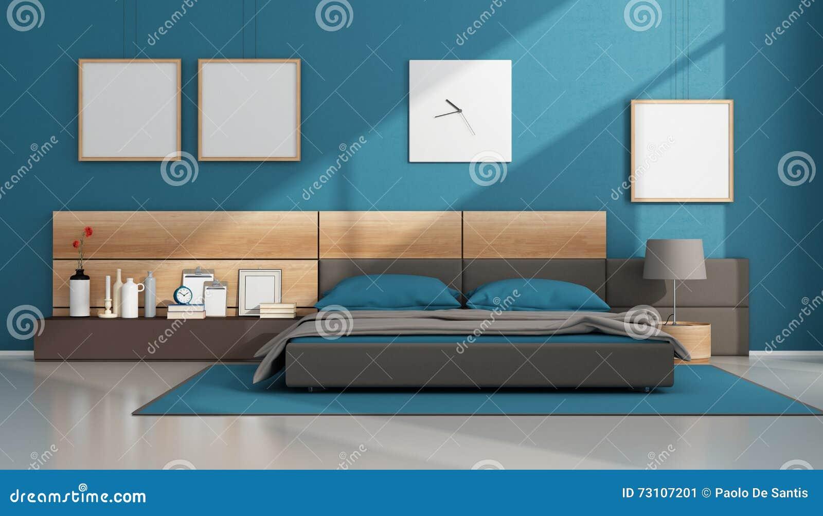 Blått modernt sovrum stock illustrationer   bild: 73107201