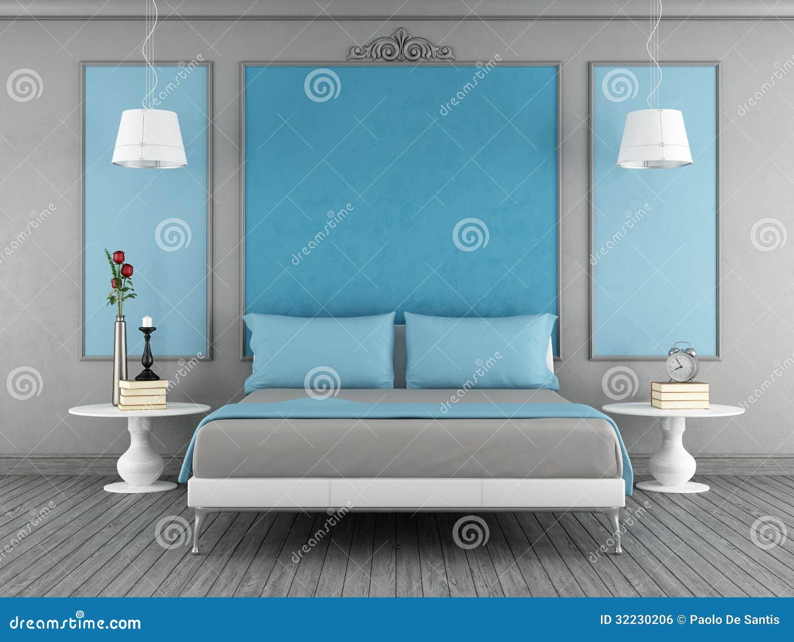 Blått och grått sovrum royaltyfri bild   bild: 32230206
