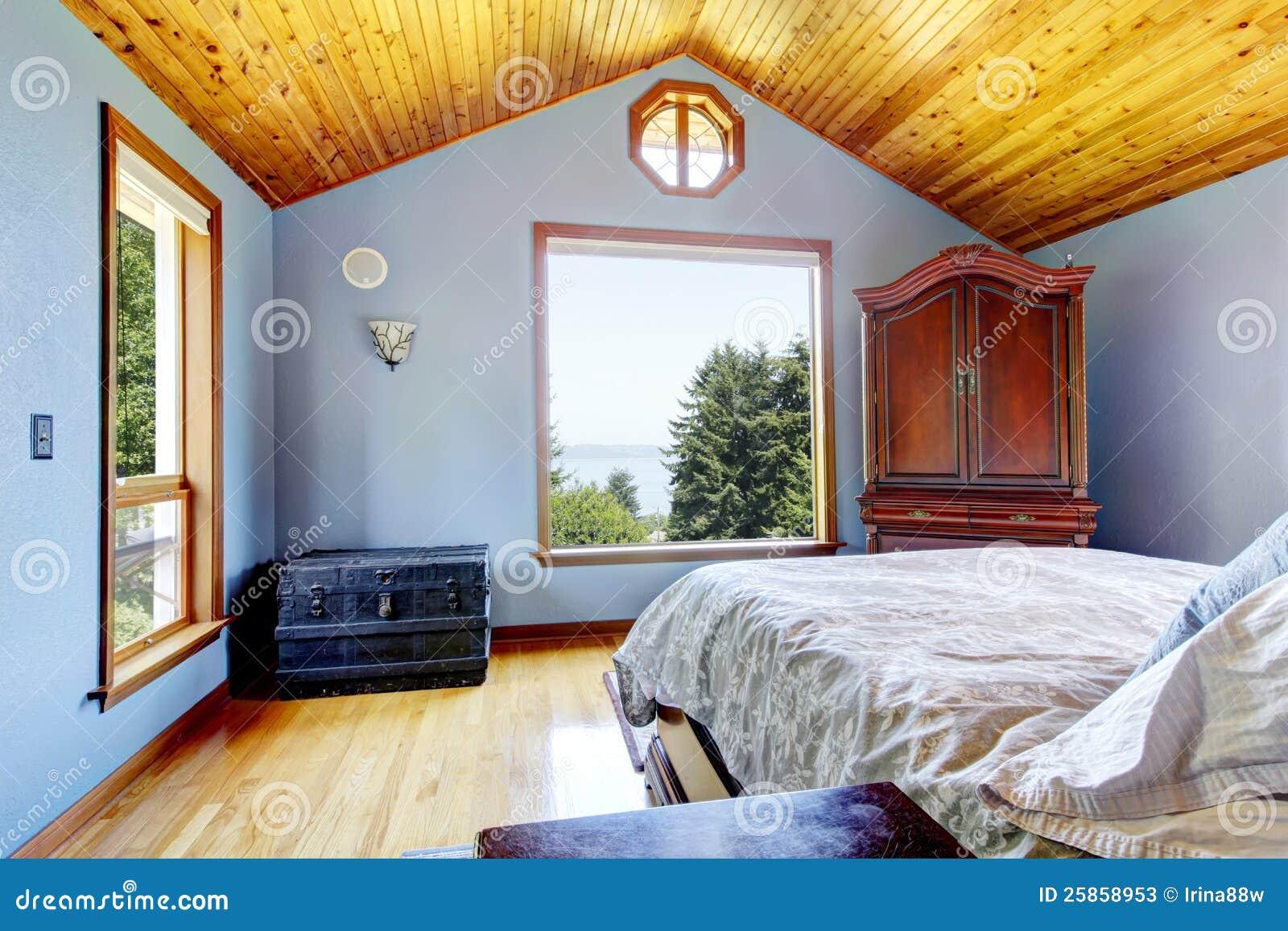 Blå interior för sovrum arkivfoto   bild: 3812990