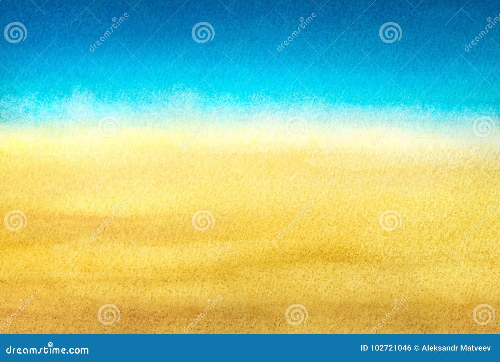Blu-chiaro per riscaldare pendenza astratta gialla della spiaggia e del mare dipinta in acquerello su fondo bianco pulito