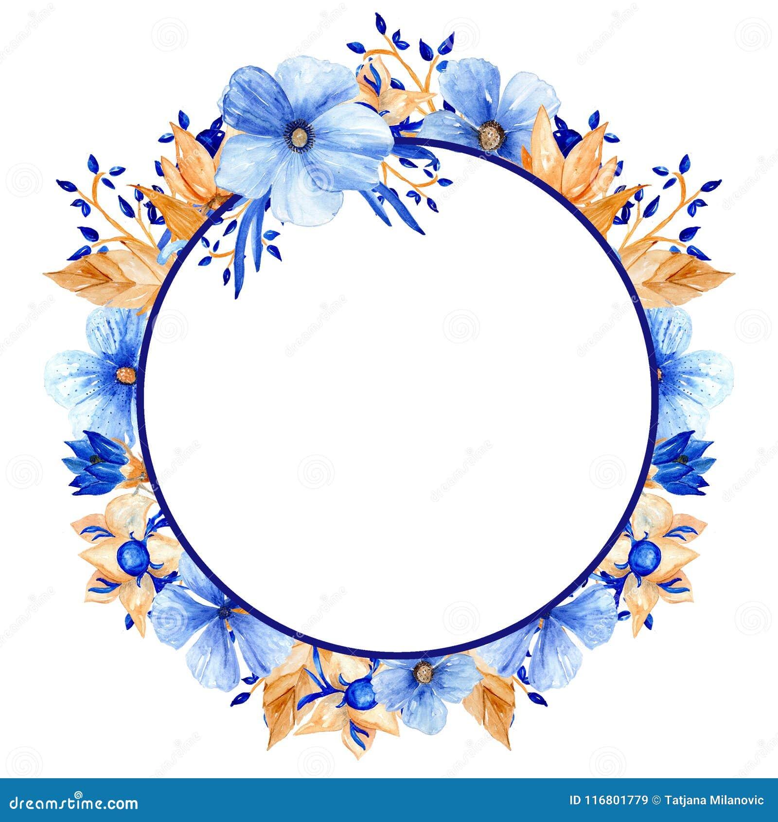 Blu dell acquerello e struttura floreale dell oro Struttura elegante dell acquerello!