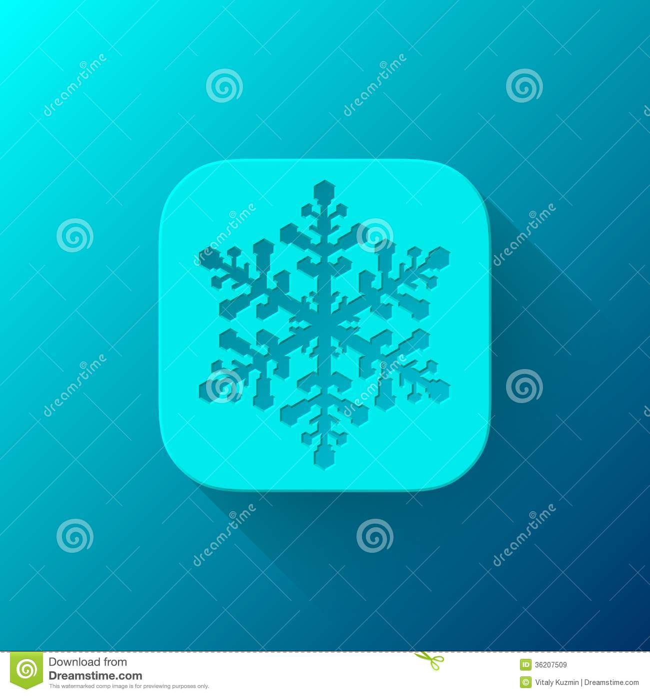 Wallpaper Apps Free: Blue Abstract App Icon Template With Snowflake Stock