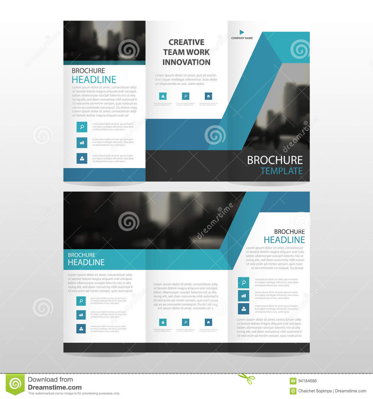 Blue abstract business trifold Leaflet Brochure Flyer report template vector minimal flat design set, abstract three fold