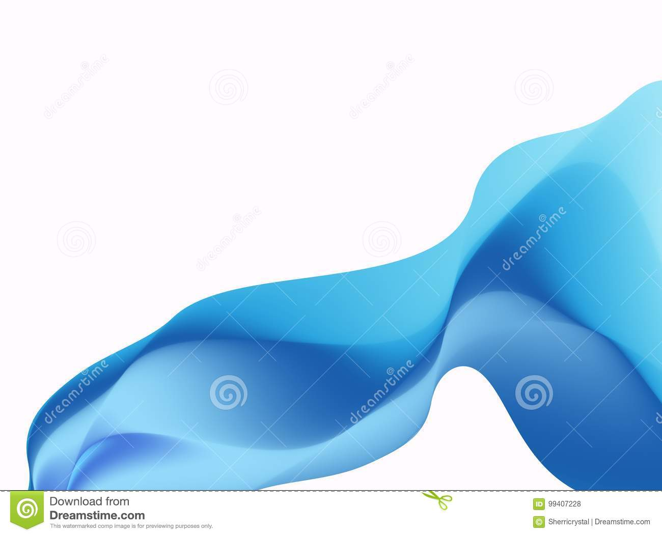 Blue abstract fractal background. Colorful waves like a veil or scarf on white backdrop. Bright modern digital art. Creative graph