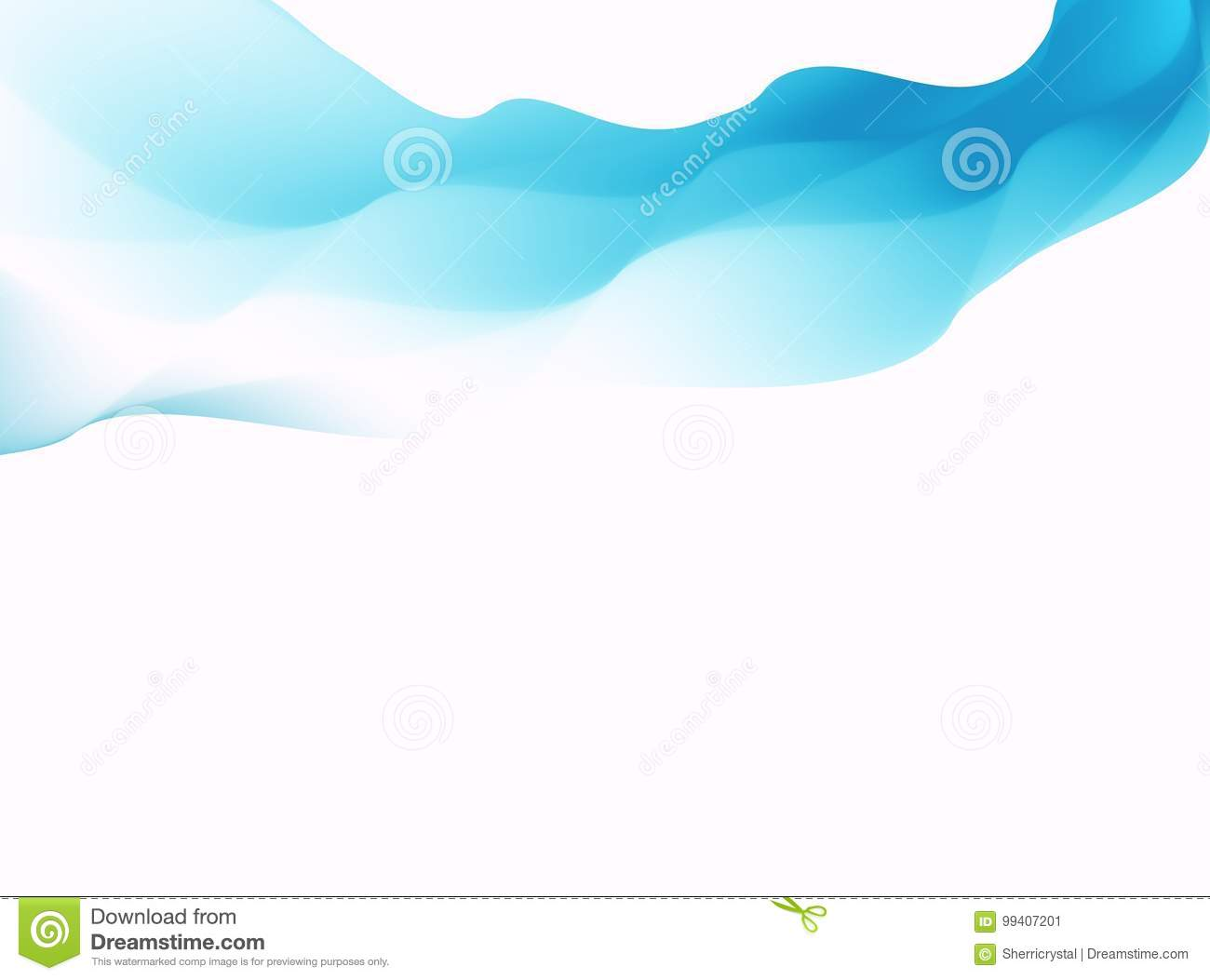 Blue abstract fractal background. Colorful waves on white backdrop. Bright modern digital art. Creative graphic template. Business