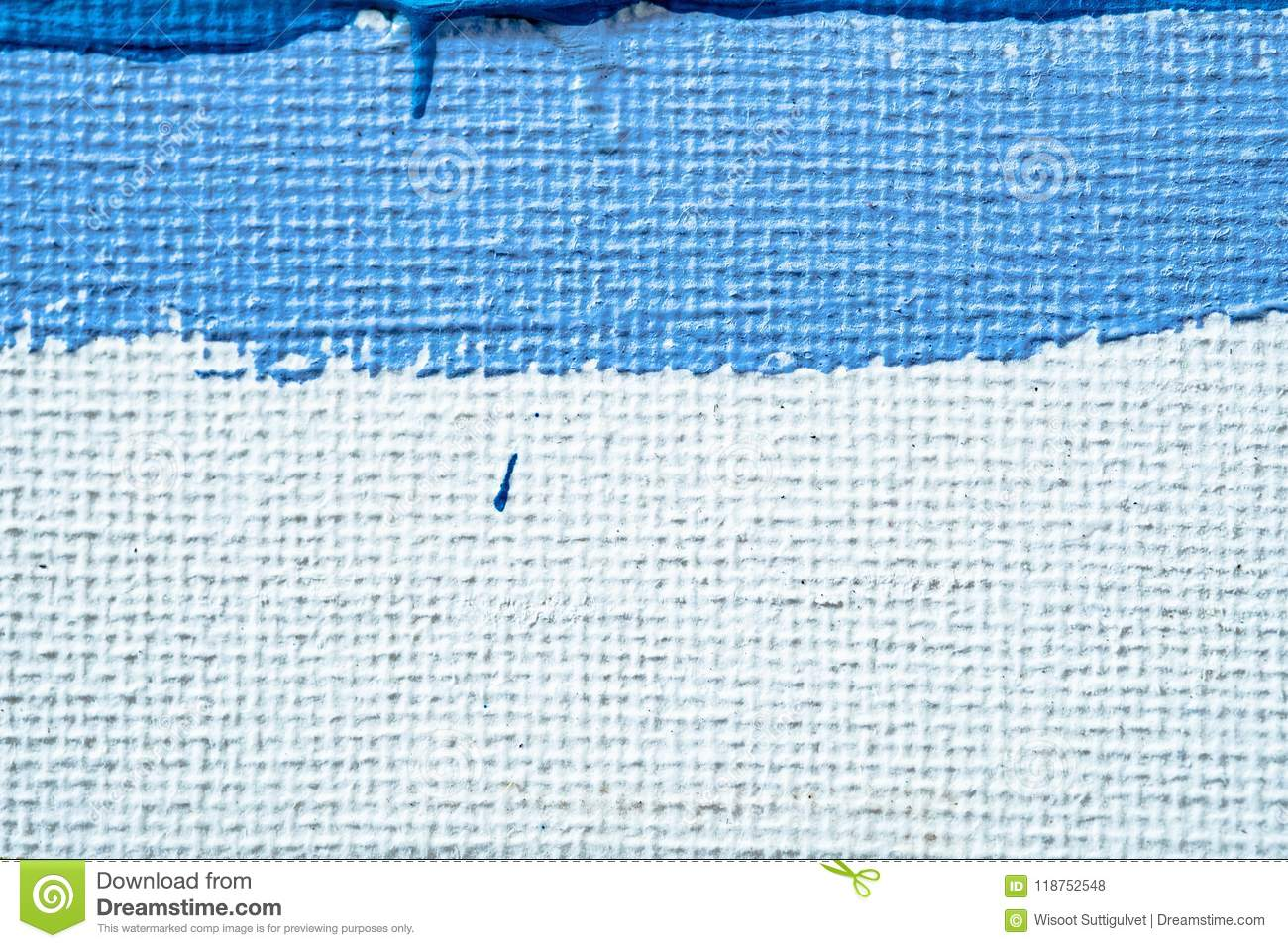 Blue abstract hand painted canvas background, texture. Colorful textured backdrop